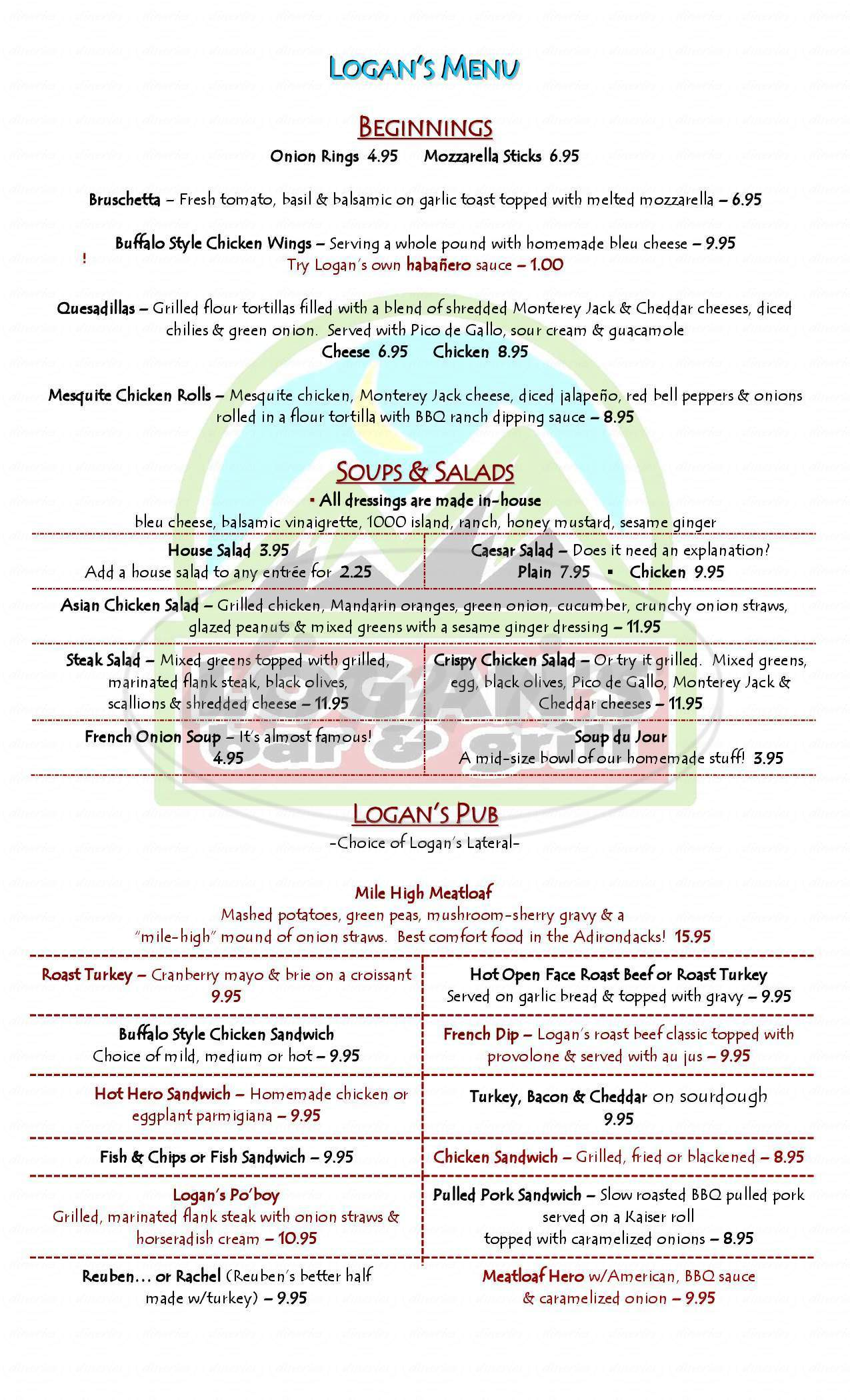menu for Logan's Bar & Grill