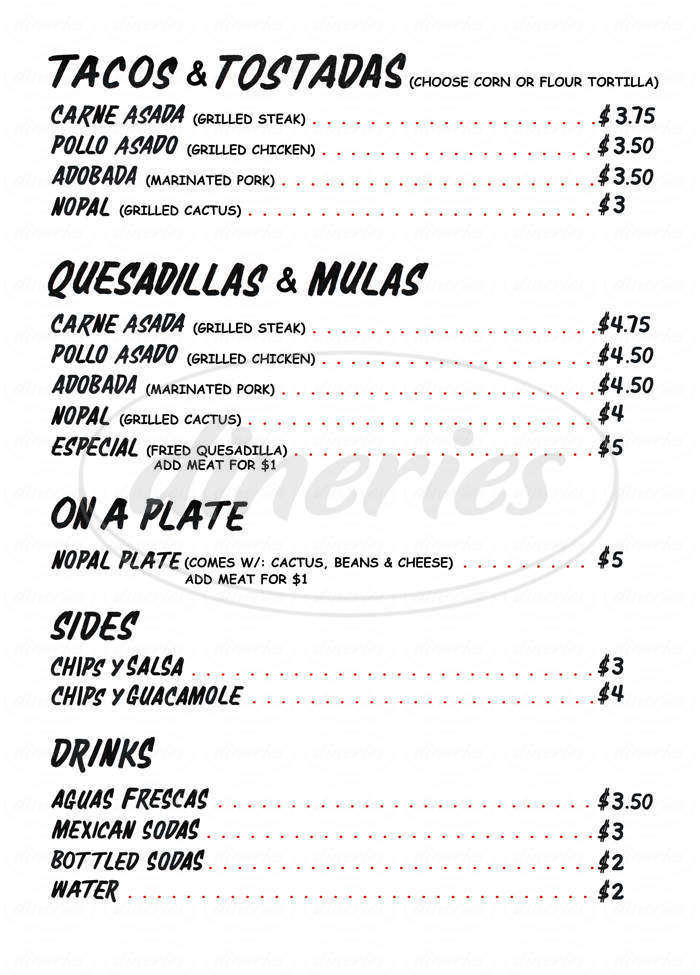 menu for Los Tacos No. 1