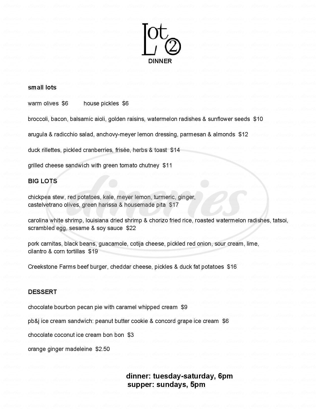 menu for Lot 2