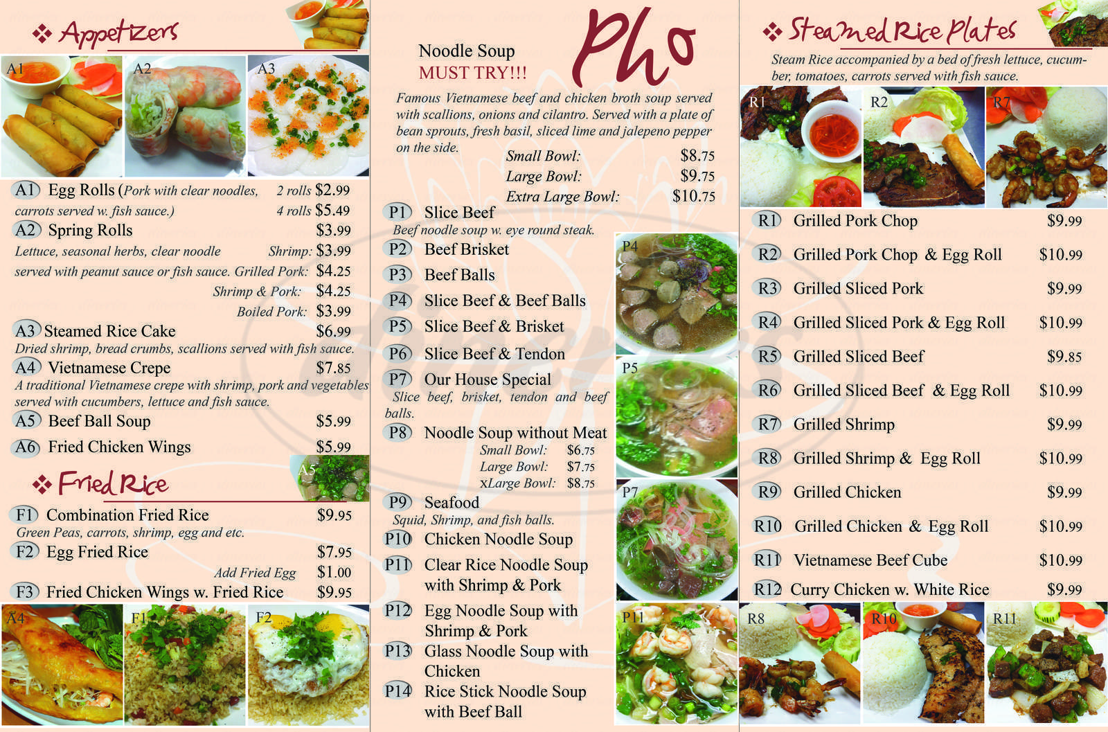menu for Lotus Restaurant