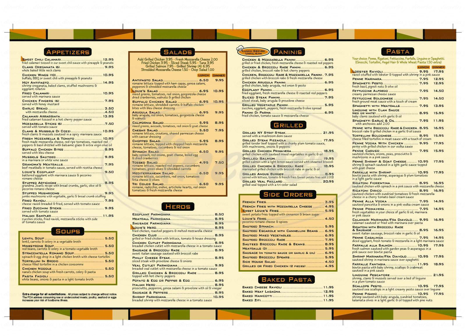 menu for Louie's Pizzeria & Restaurant