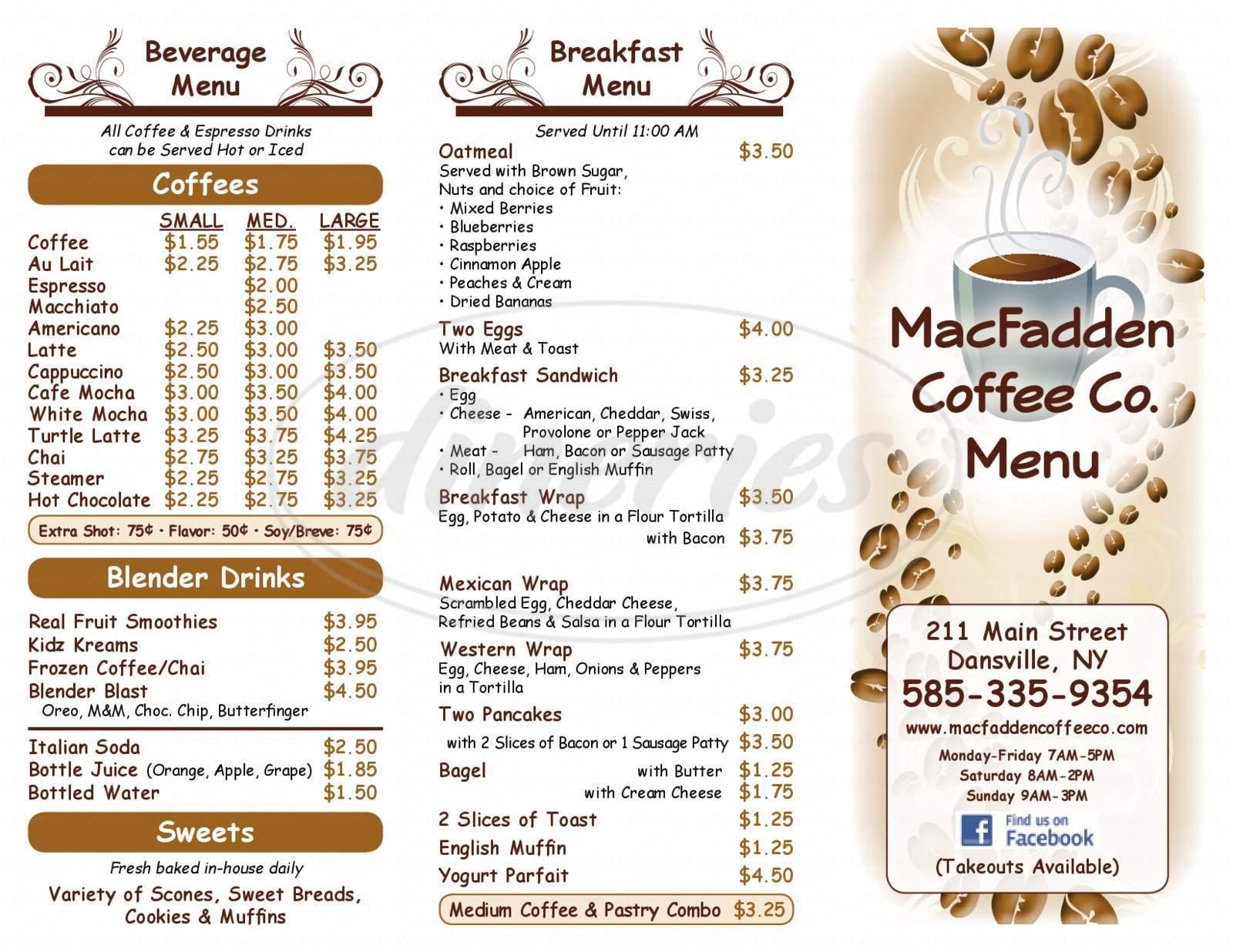 menu for MacFadden Coffee Co.