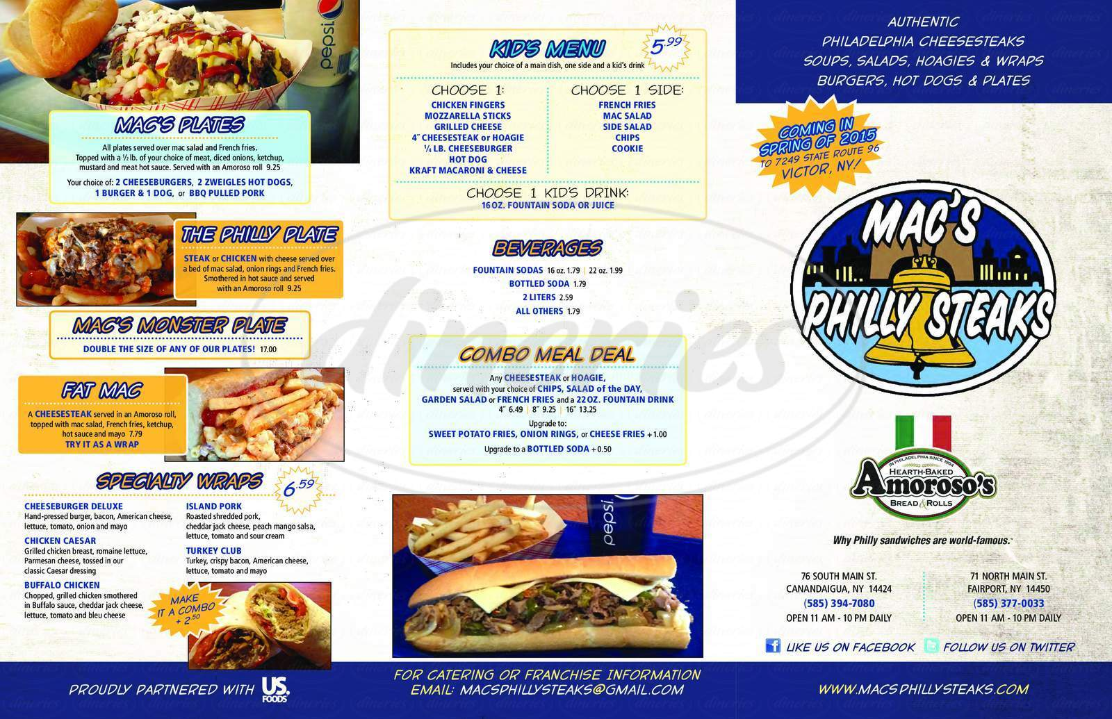 menu for Mac's Philly Steaks