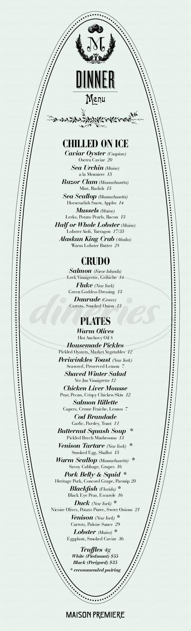 menu for Maison Premiere