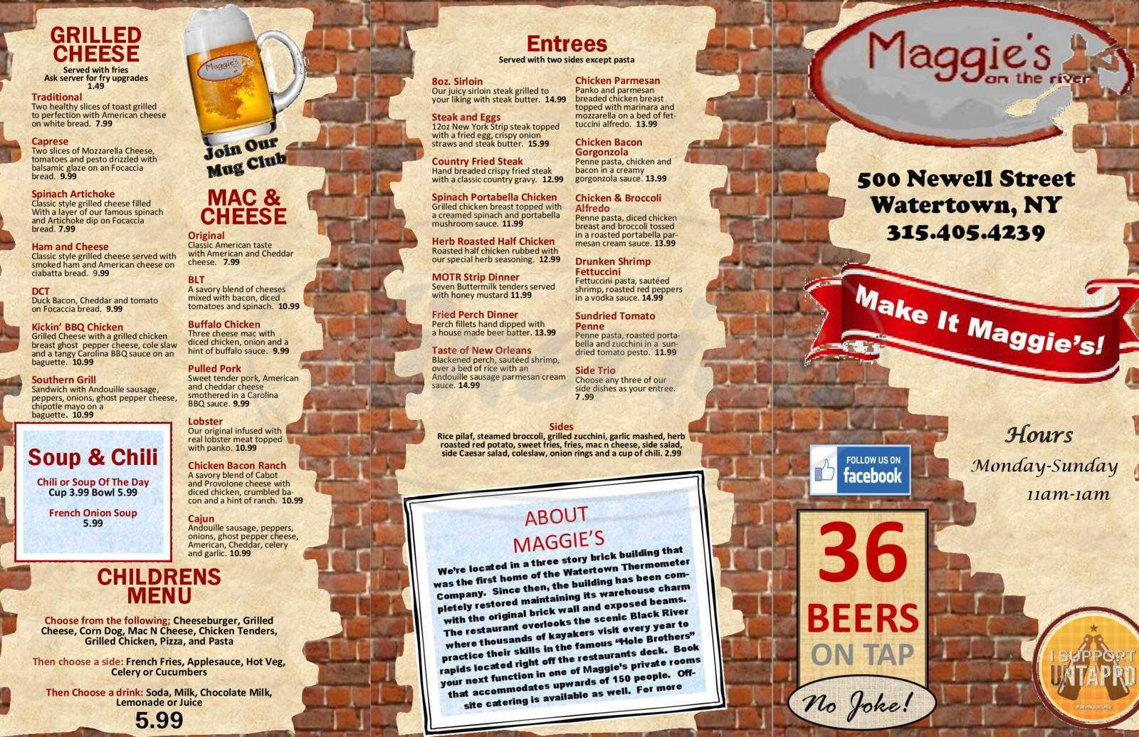 menu for Maggie's on the River