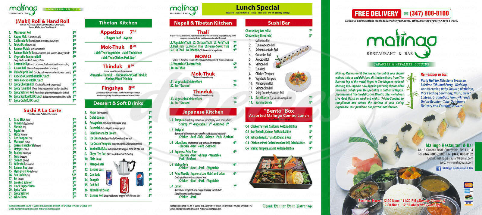 menu for Malingo Restaurant & Bar