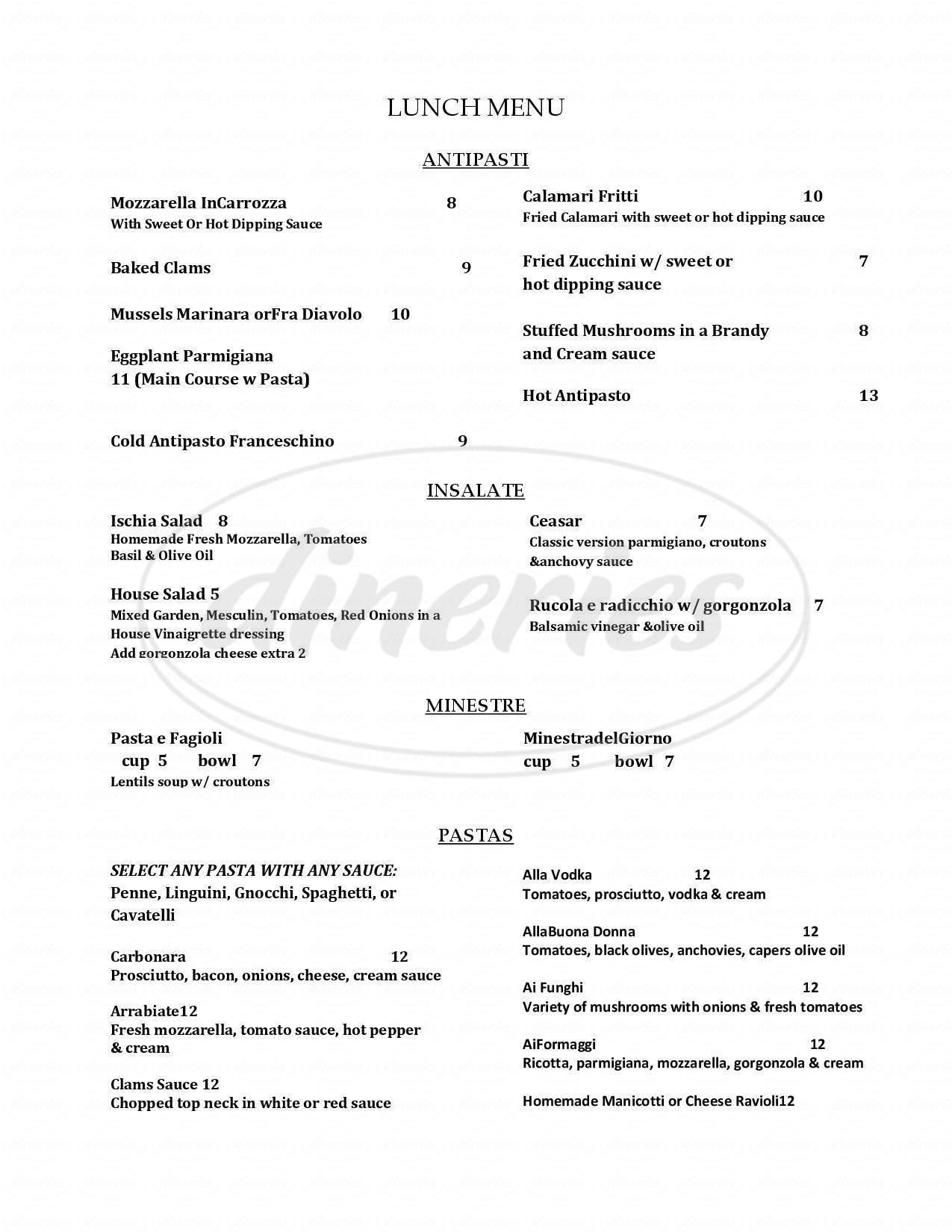 menu for Mamma Francesca Trattoria