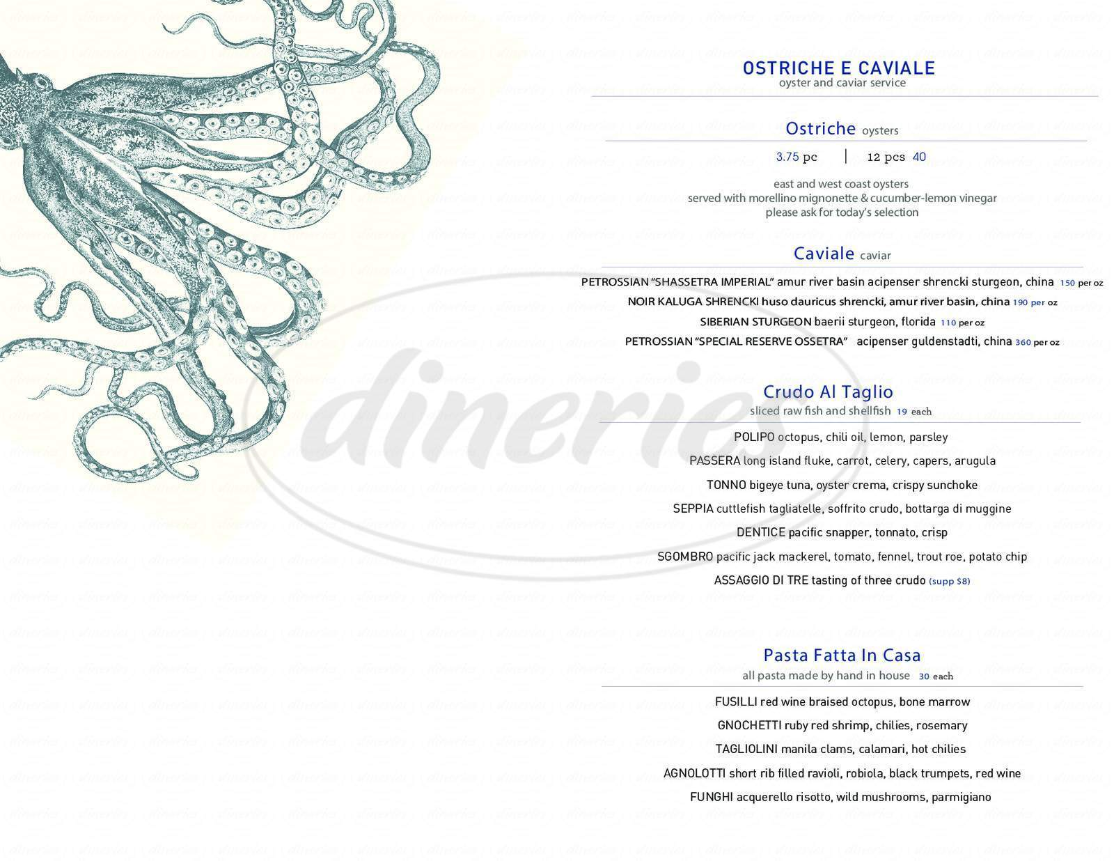 menu for Marea