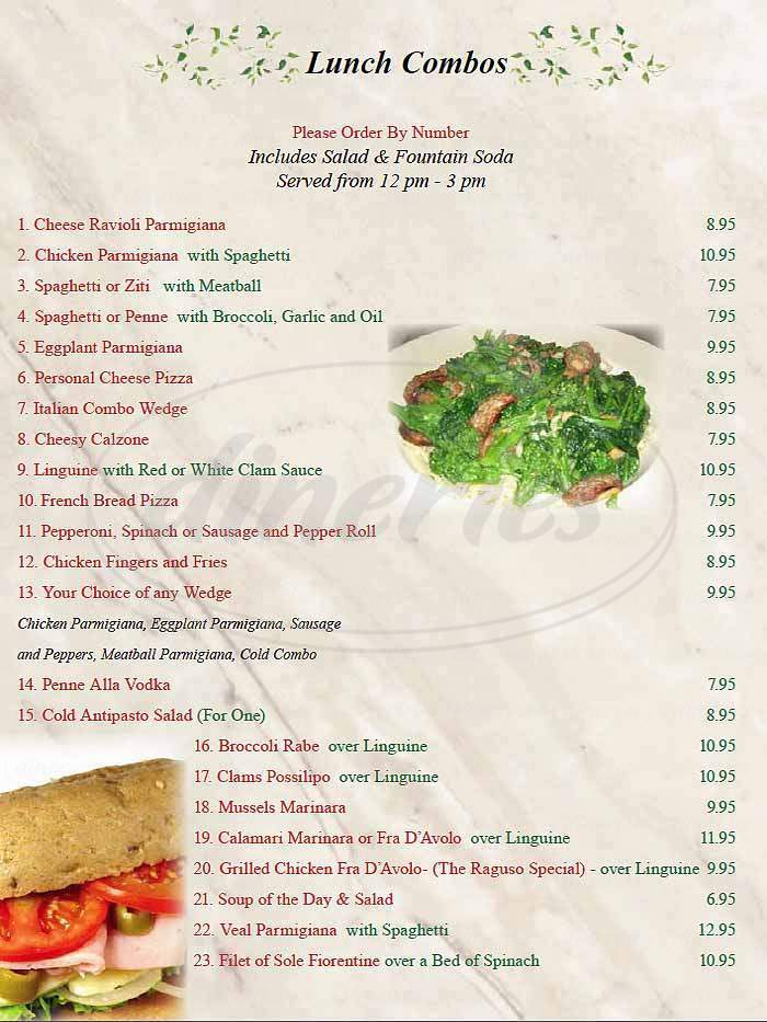 menu for Mario's Restaurant and Pizza