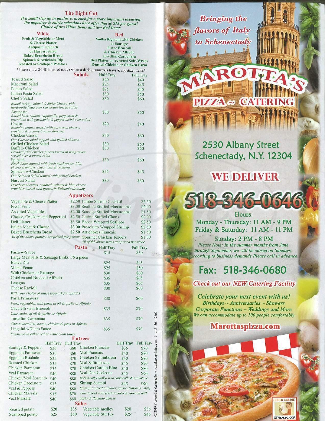 menu for Marottas Pizza & Catering