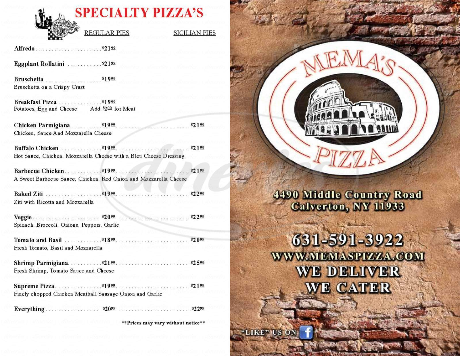 menu for Mema's Pizza