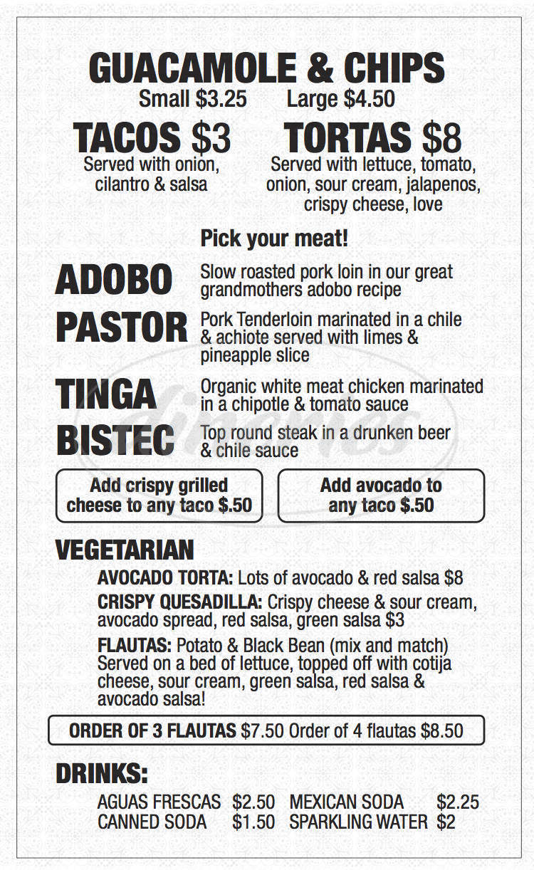 menu for México Blvd