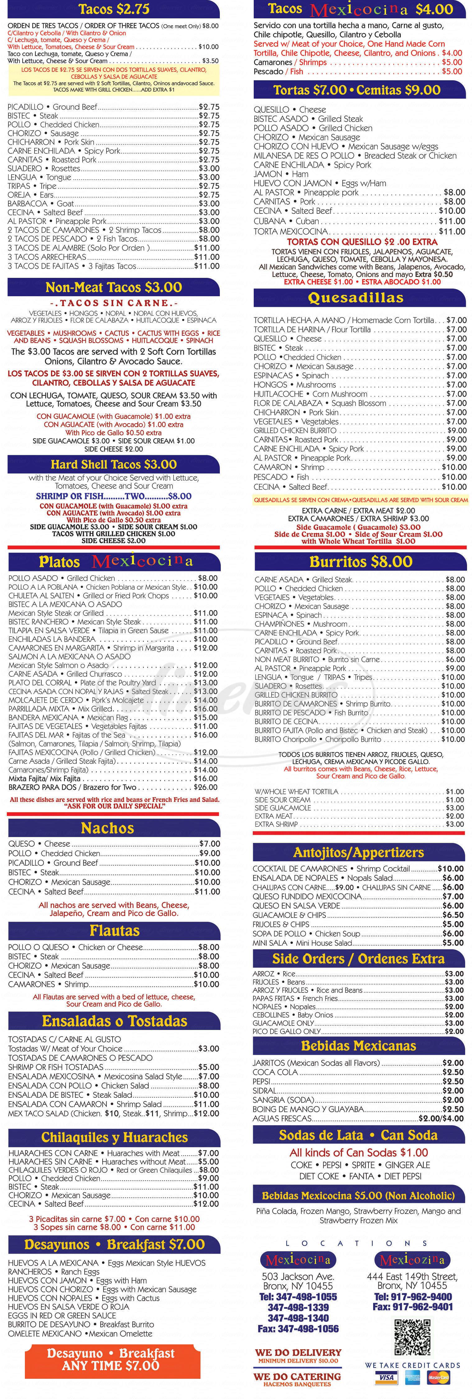 menu for Mexicosina