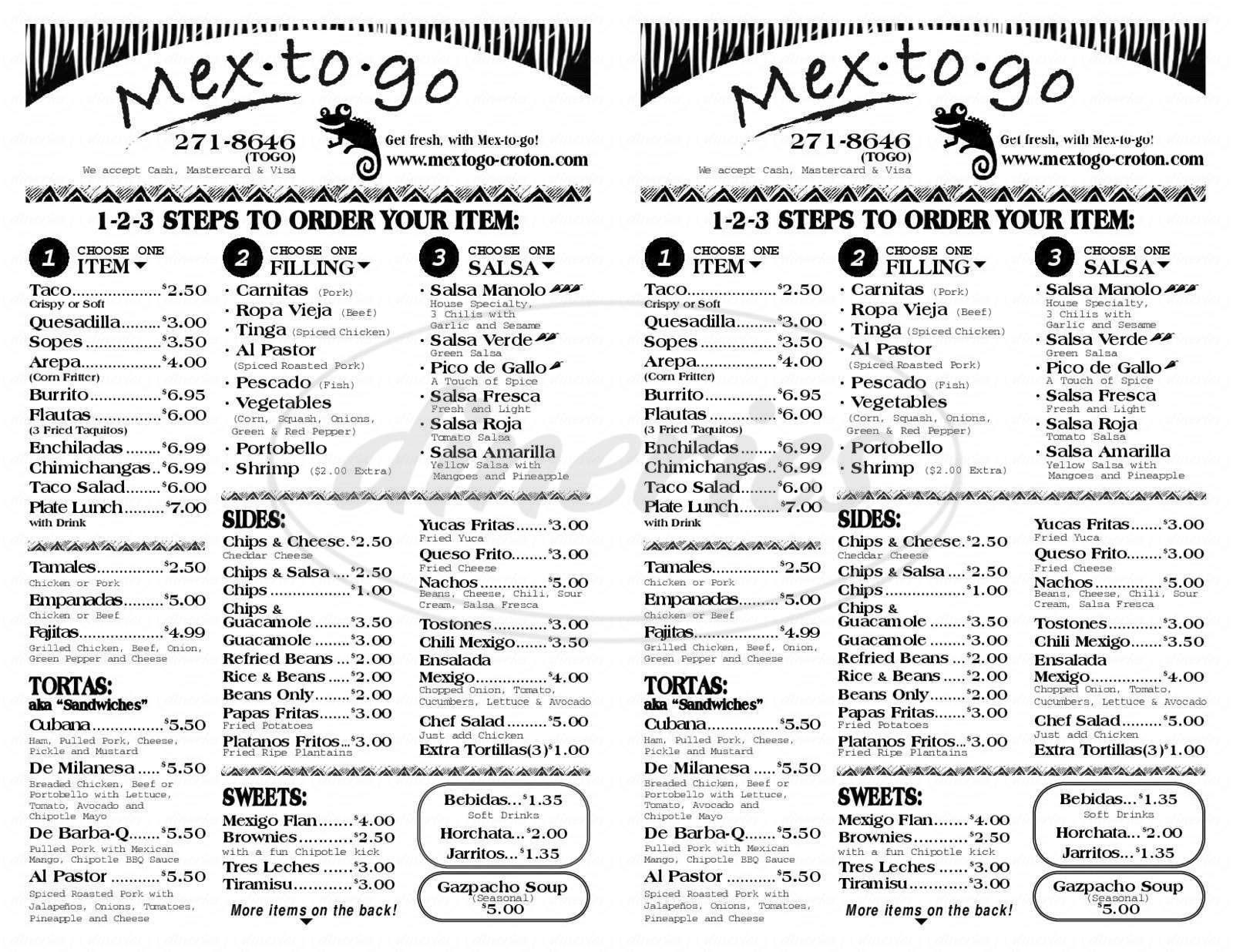menu for Mex-to-go