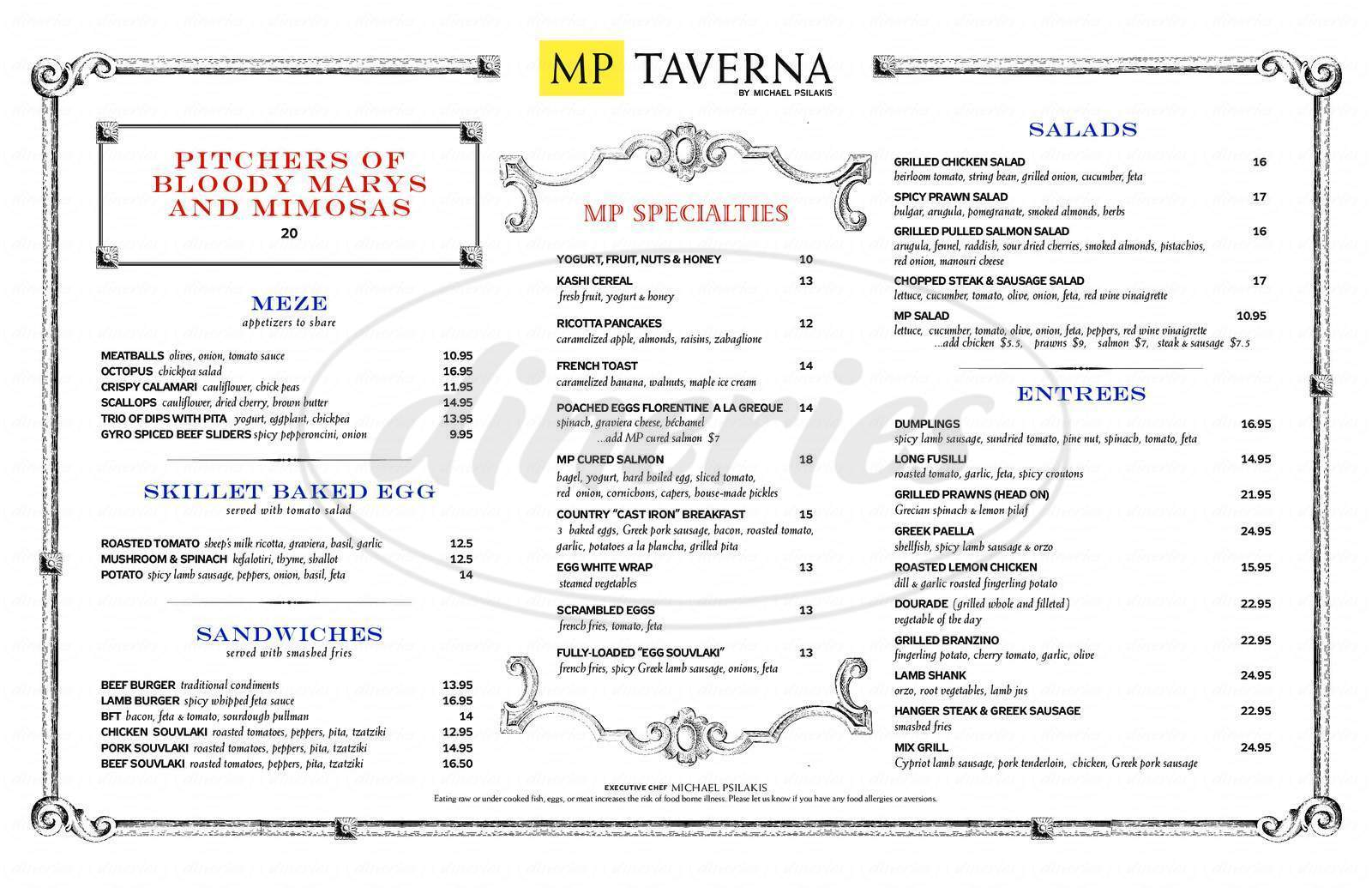 menu for MP Taverna