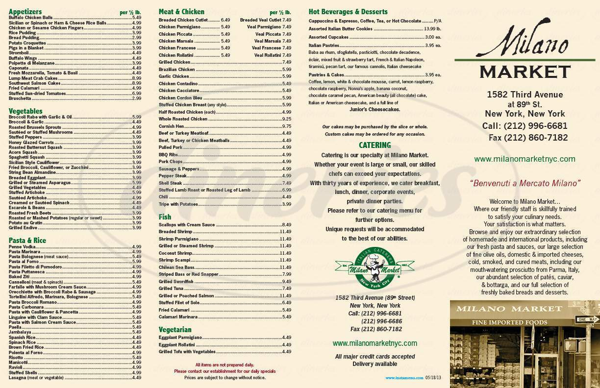 menu for Milano Market