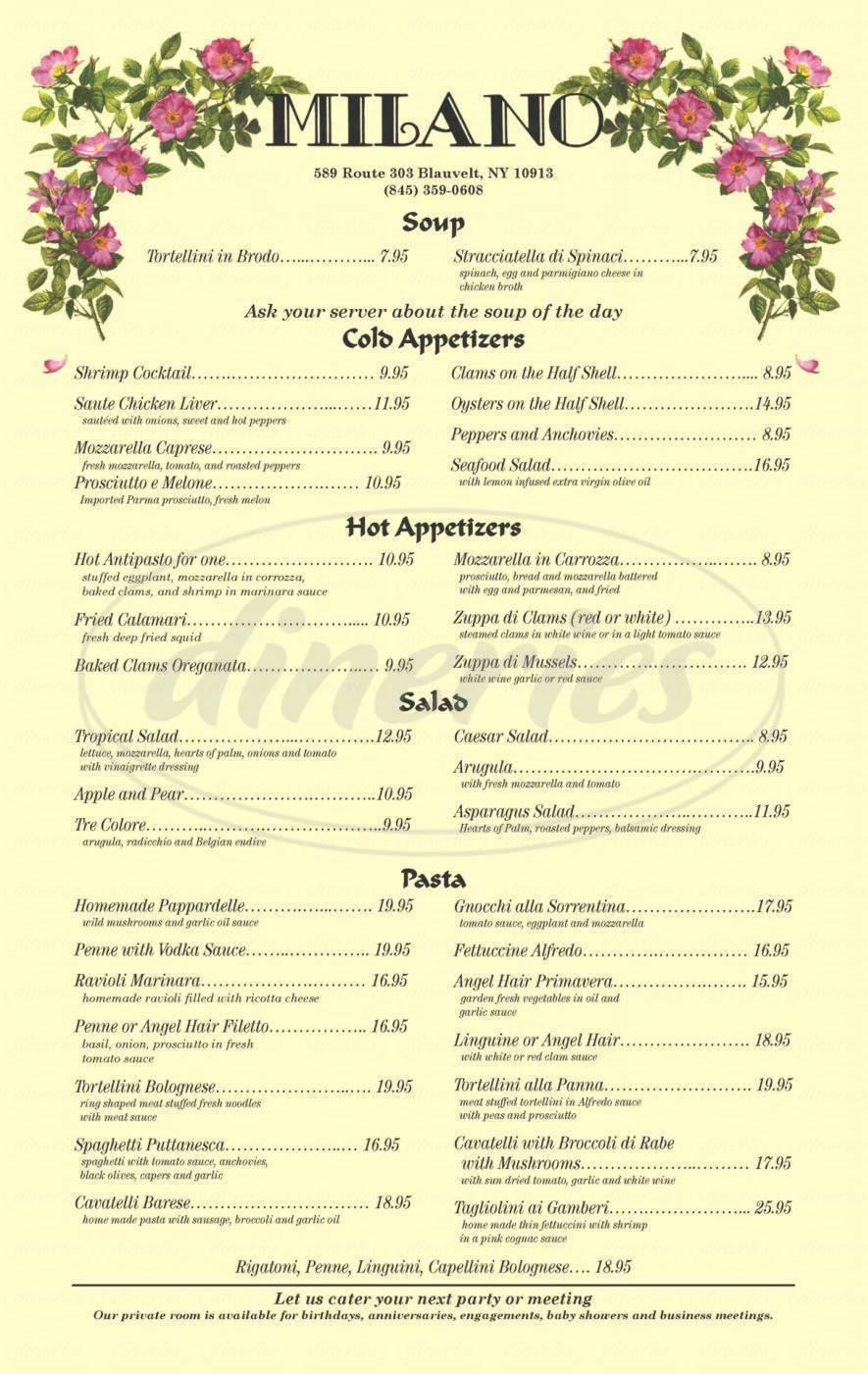 menu for Ristorante Milano