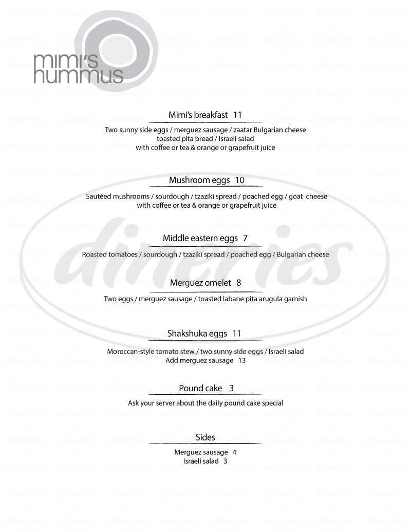 menu for Mimi's Hummus