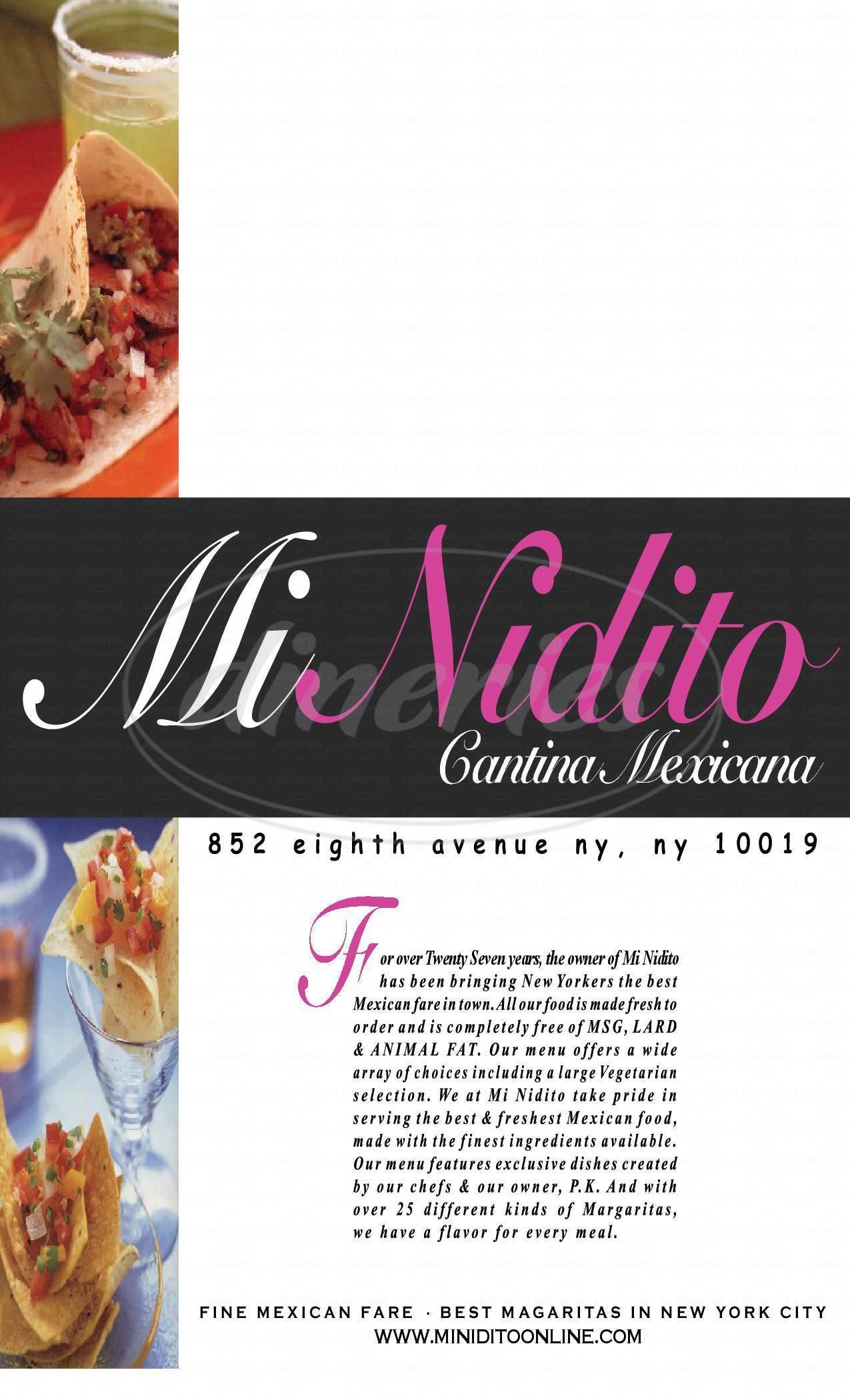 menu for El Nido's Pan Pizza