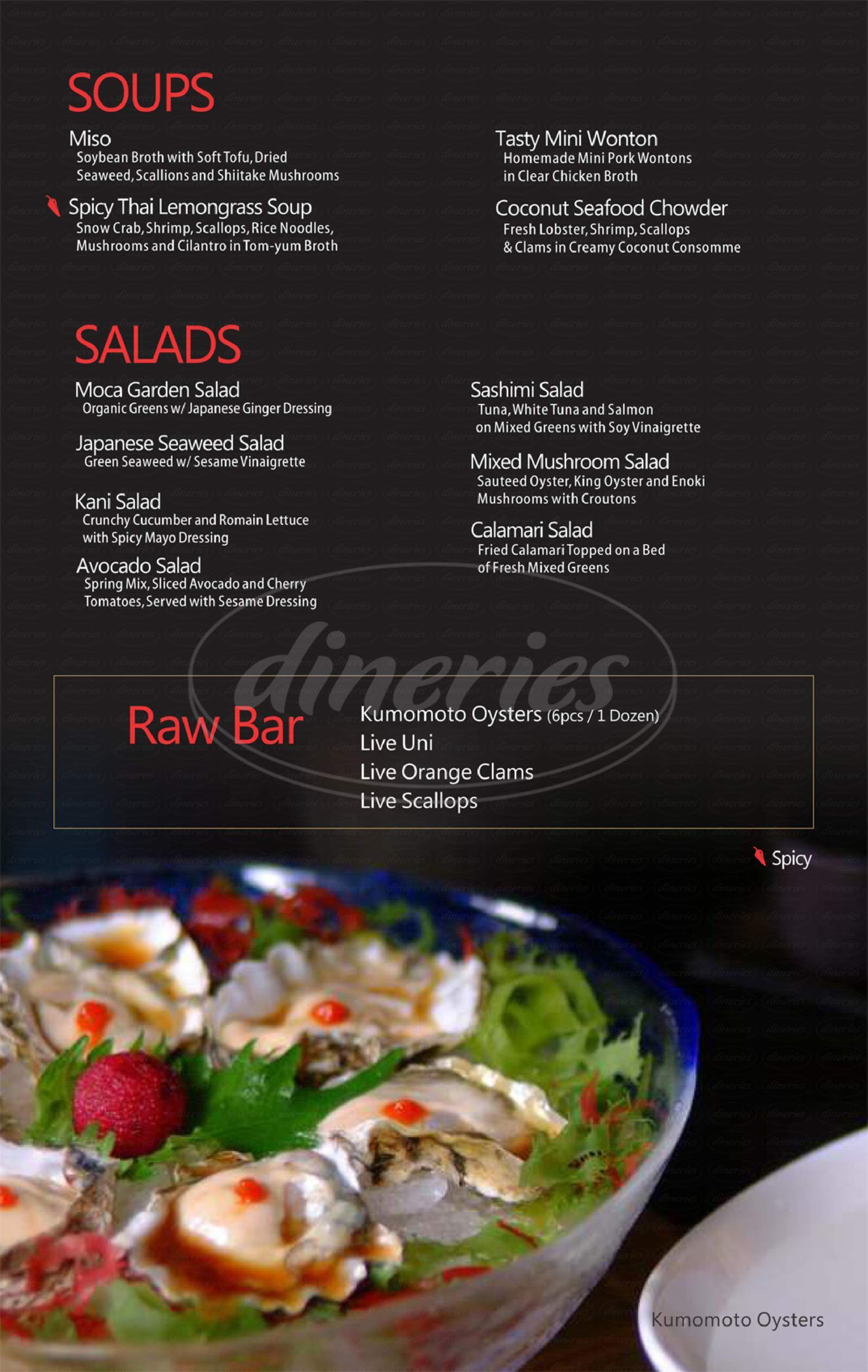 menu for Moca Asian Bistro