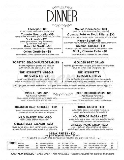 menu for Mominette