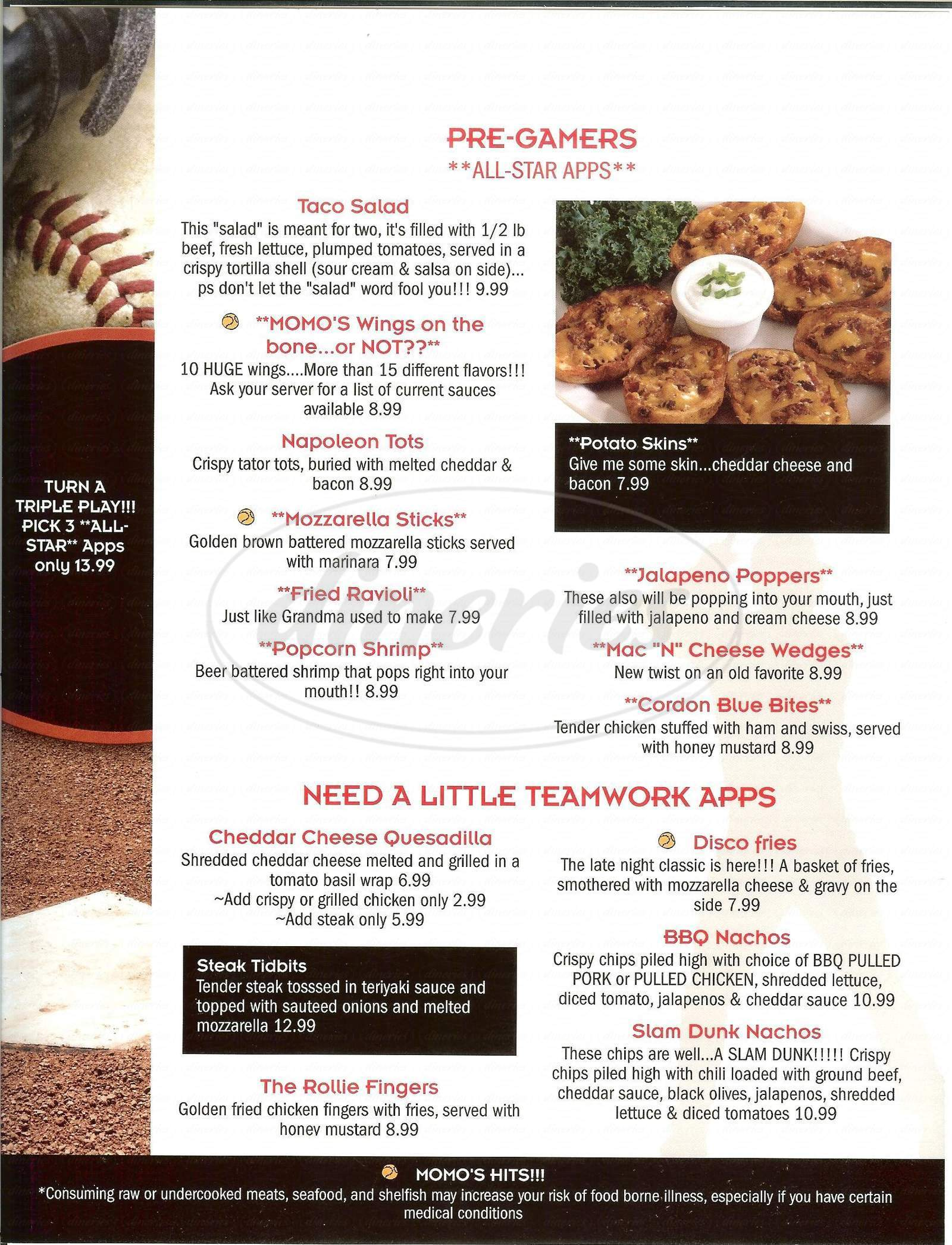 menu for Momo's Sports Bar