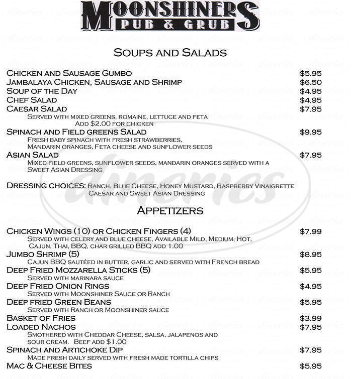 menu for Moonshiners Pub & Grub