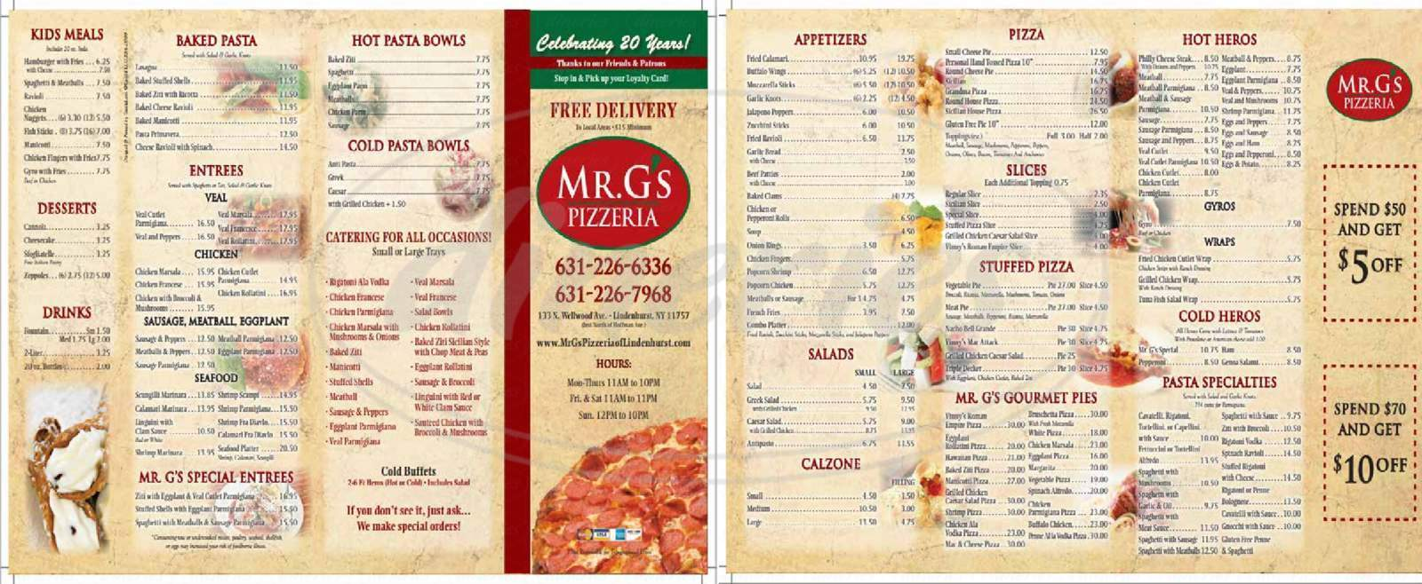 menu for Mr G's Pizzeria