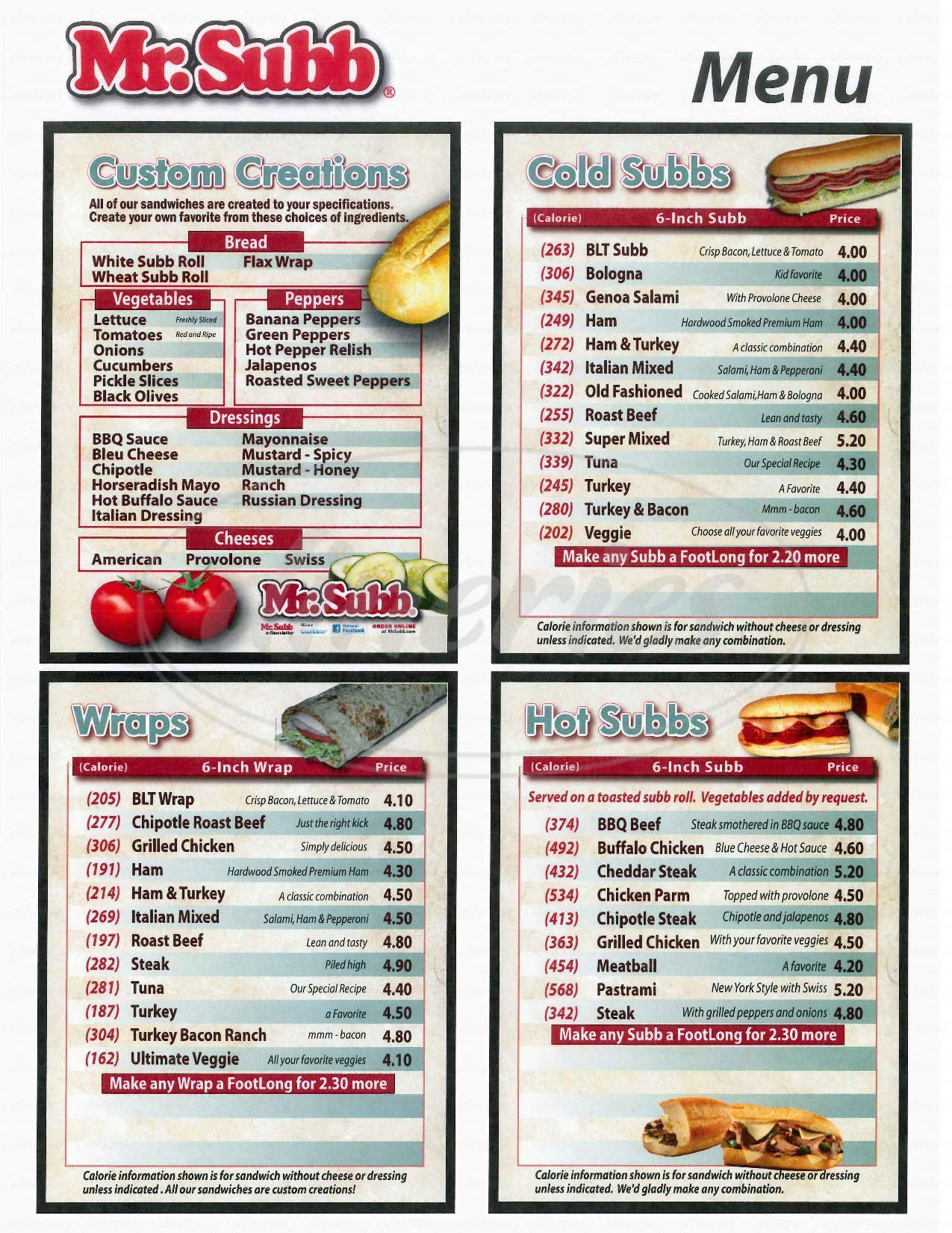 menu for Mr. Subb