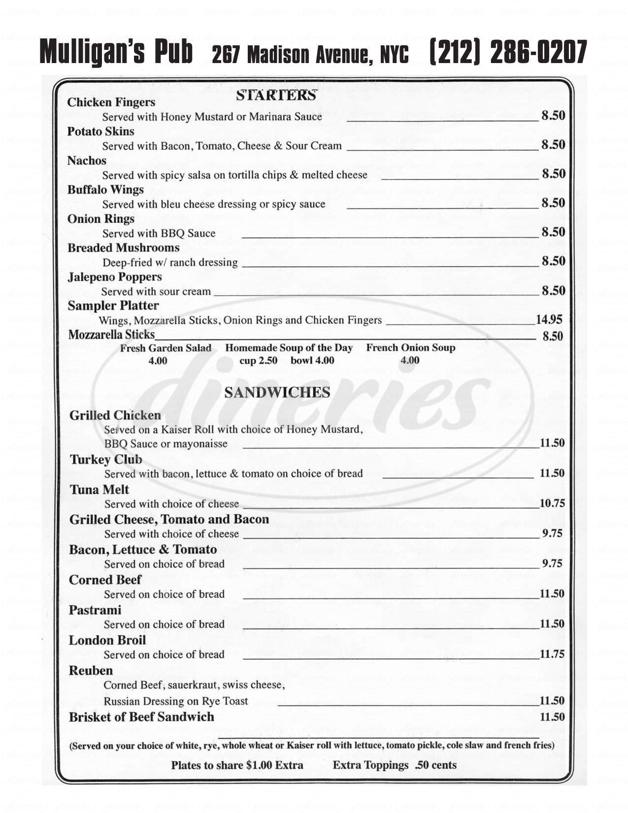 menu for Mulligan's Pub