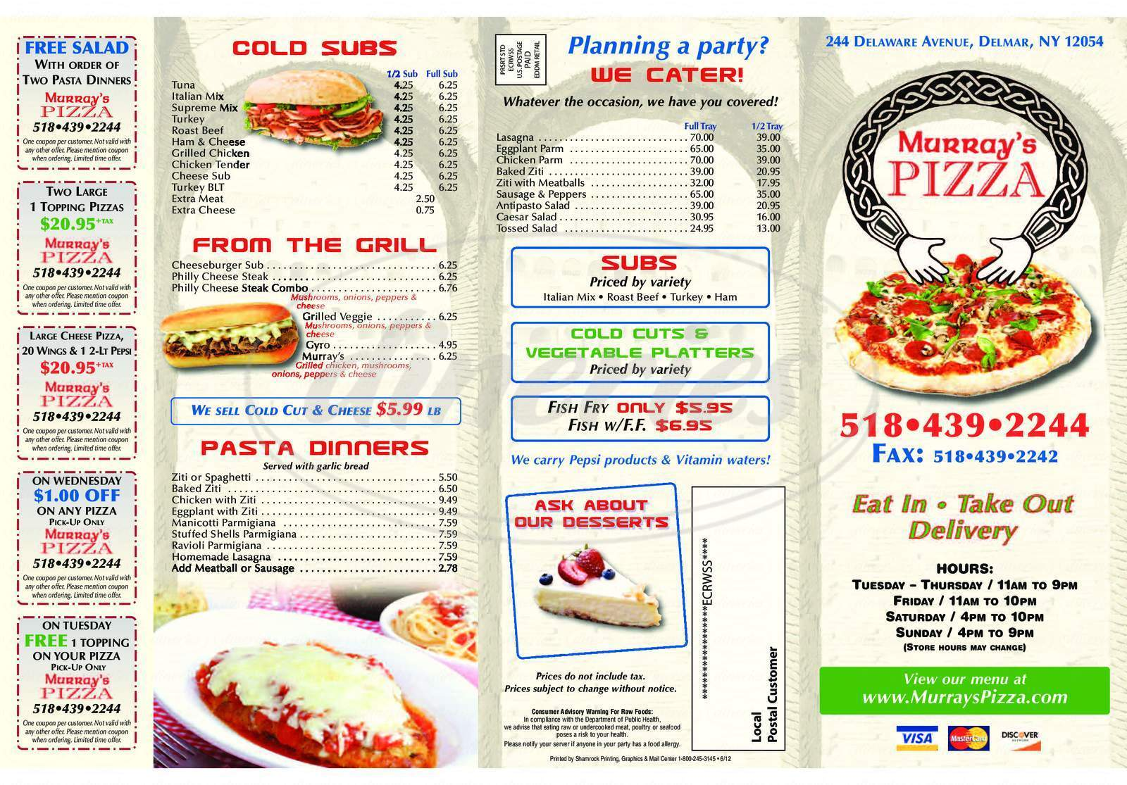 menu for Murray's Pizza