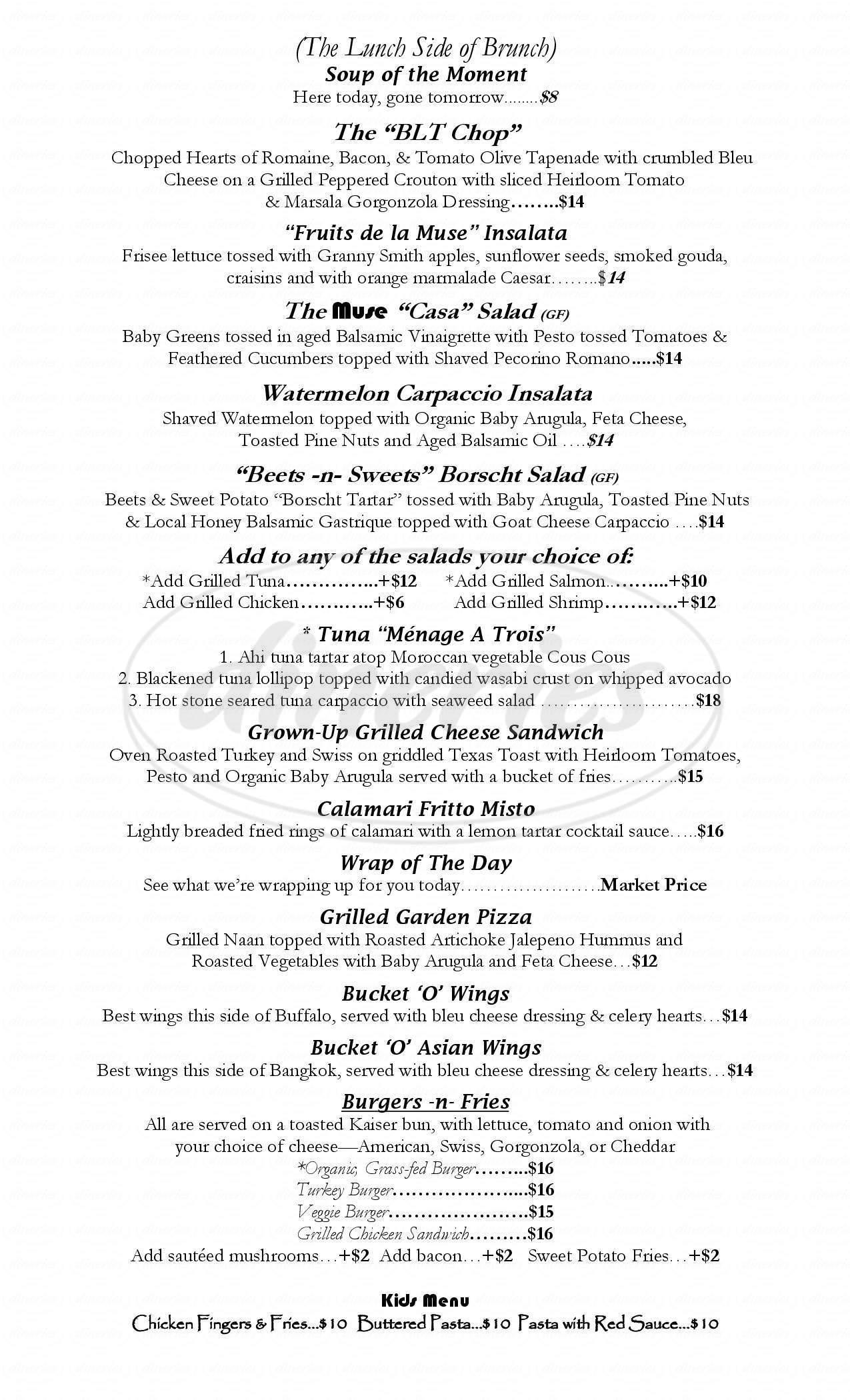 menu for Muse Restaurant