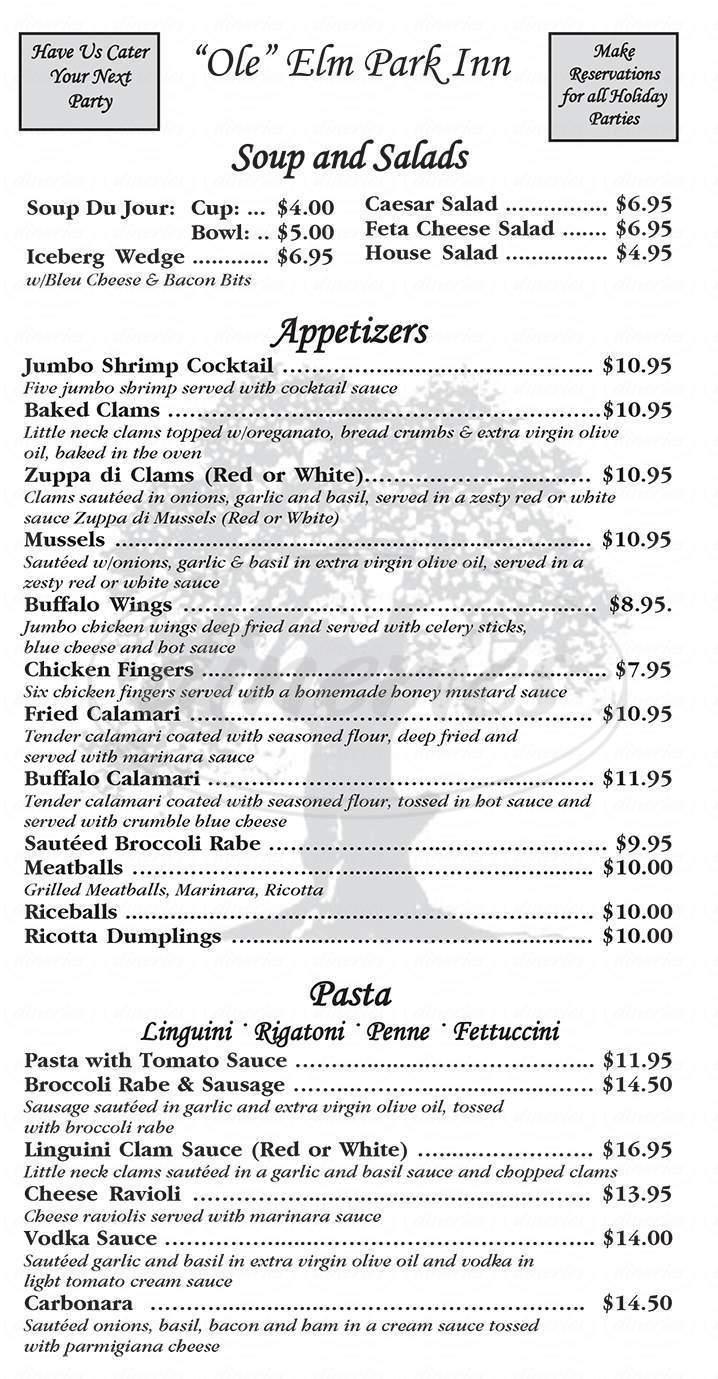 menu for Elm Park Inn