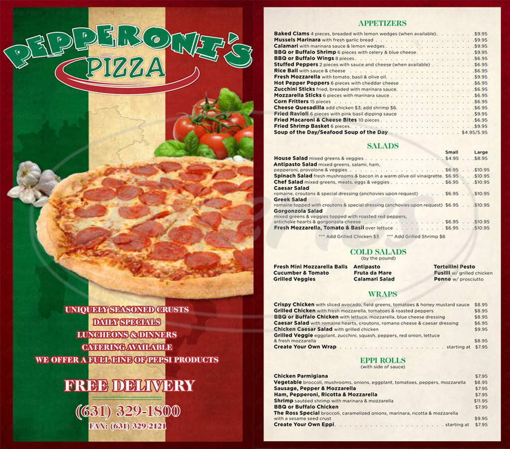menu for Pepperoni's