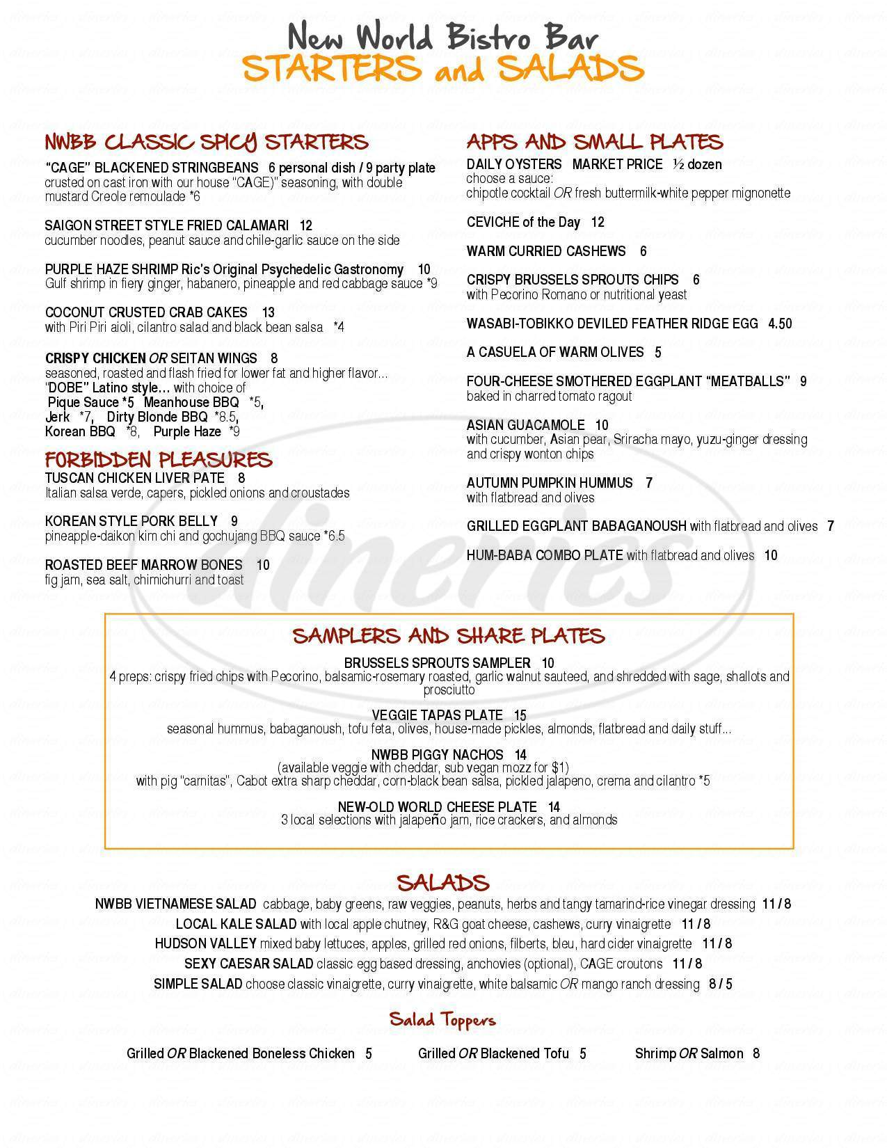 Big menu for New World Bistro Bar, Albany