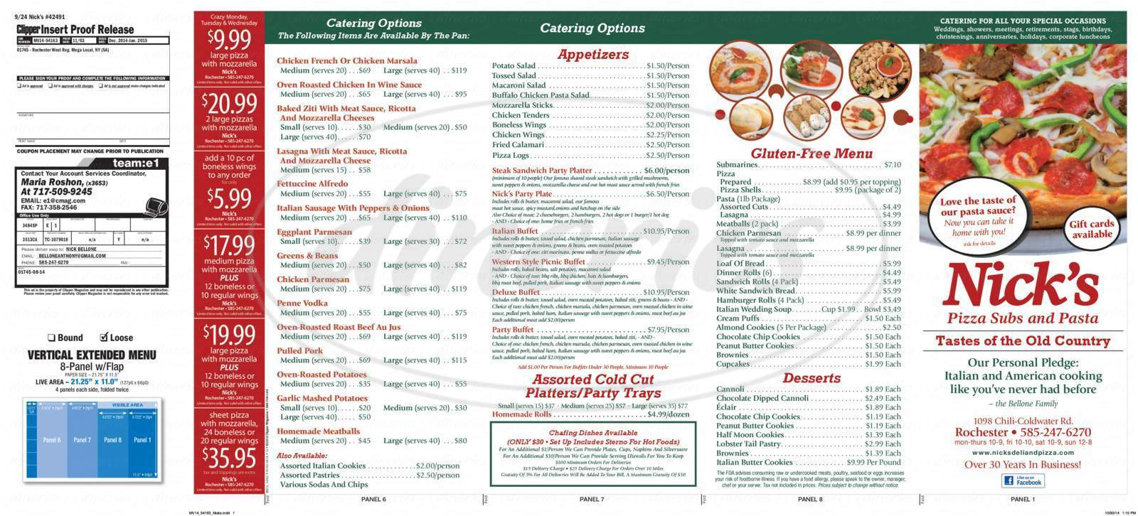 menu for Nick's Pizza & Subs