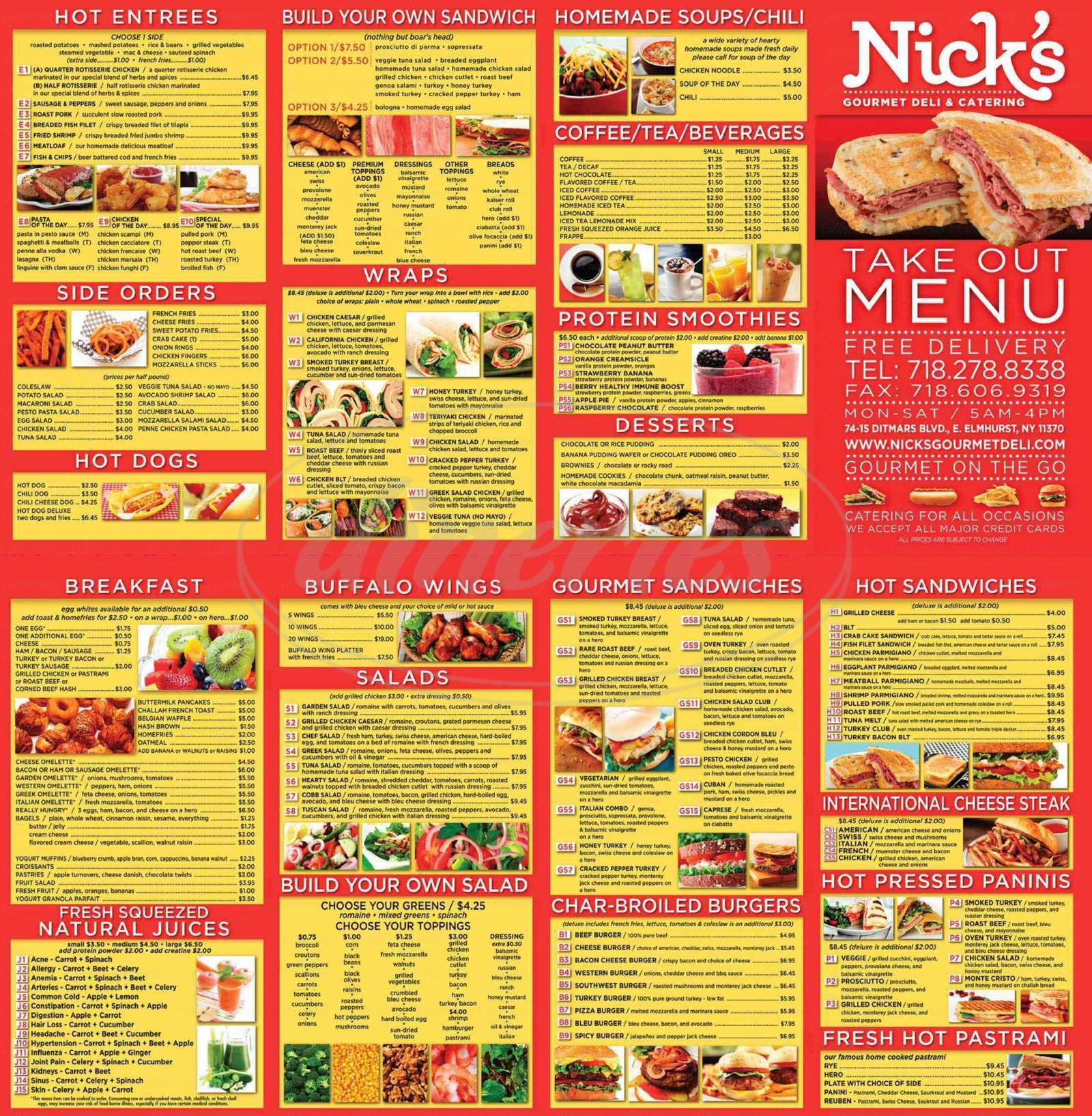 menu for Nick's Gourmet Deli