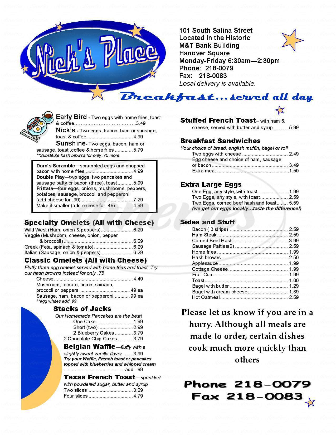 menu for Nick's Place