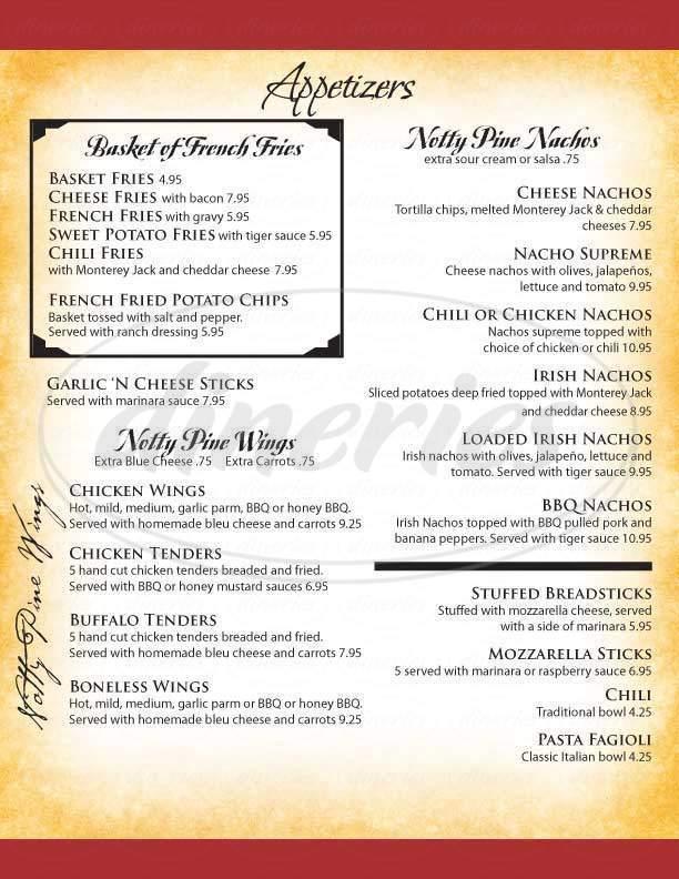 menu for Notty Pine Tavern