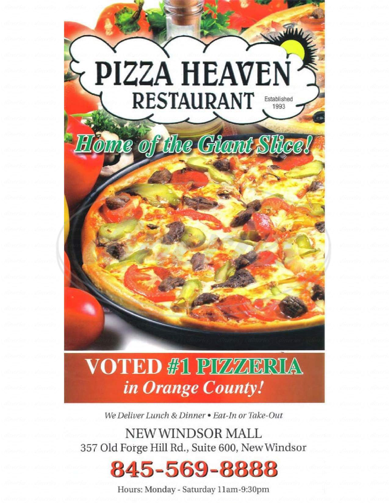 menu for Pizza Heaven