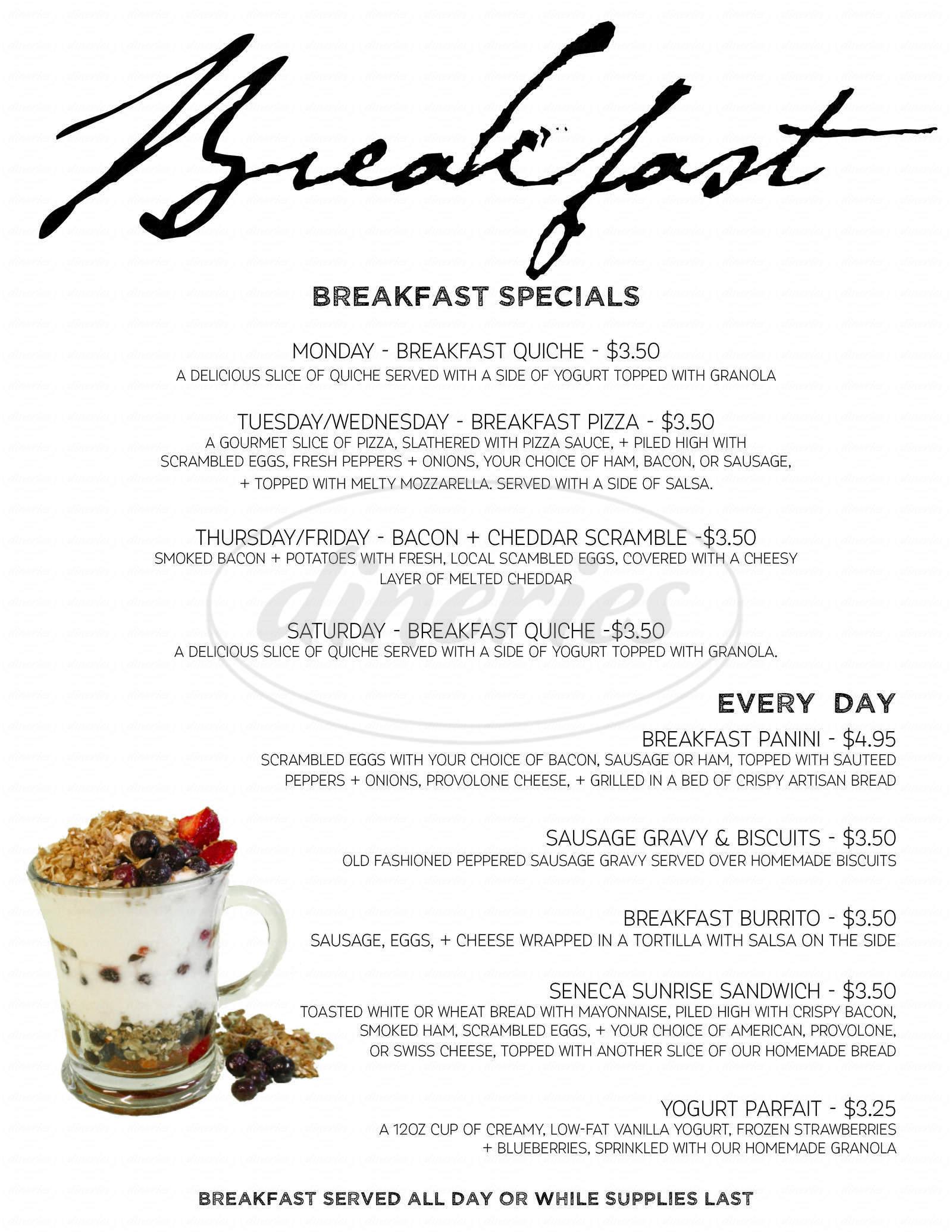 menu for Oak Leaf Cafe