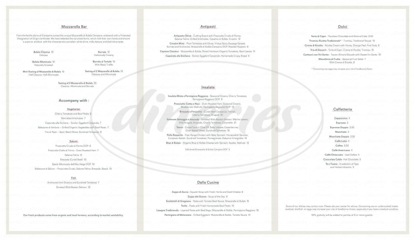 menu for Obikà Mozzarella Bar