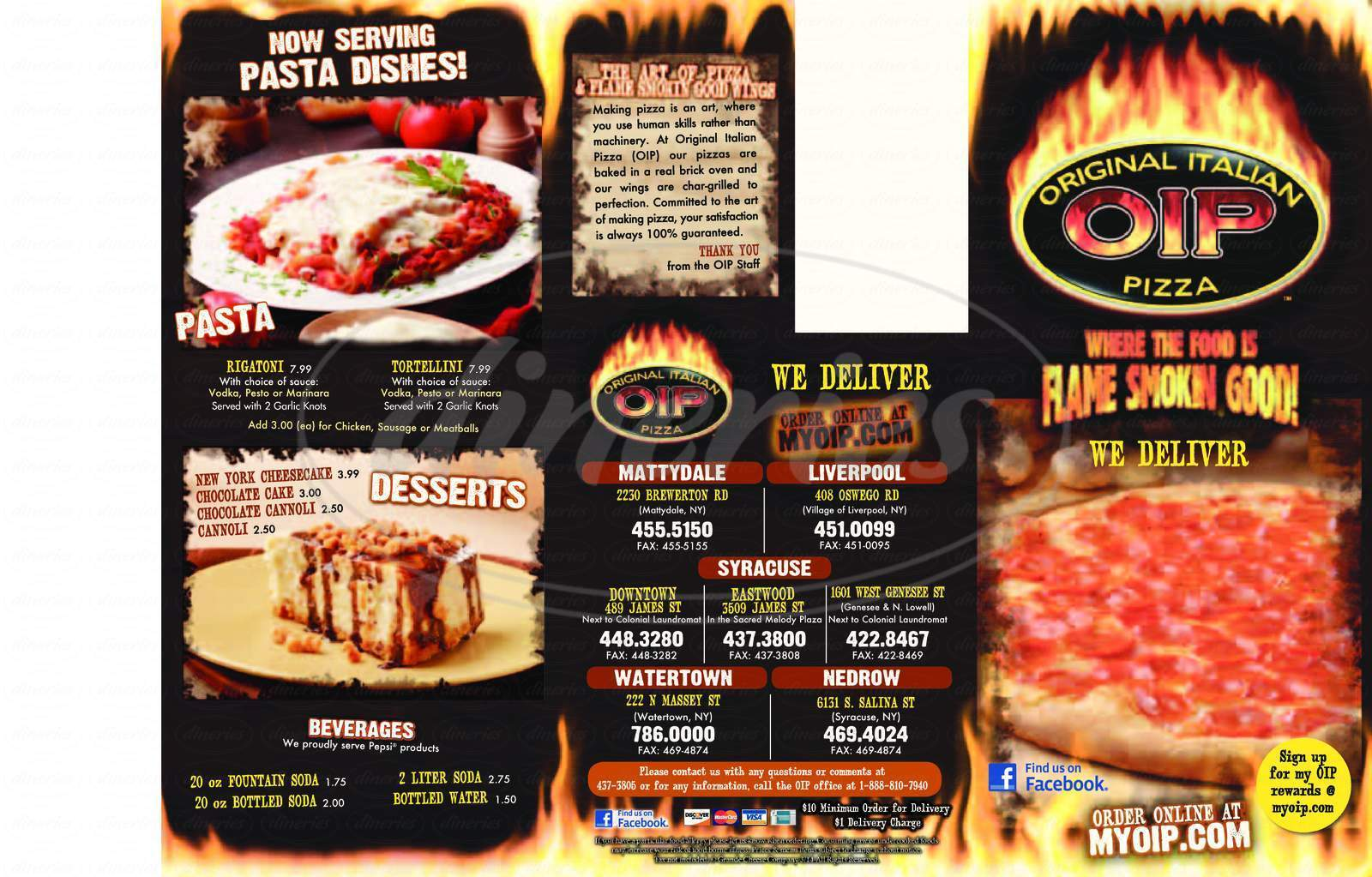 menu for Original Italian Pizza