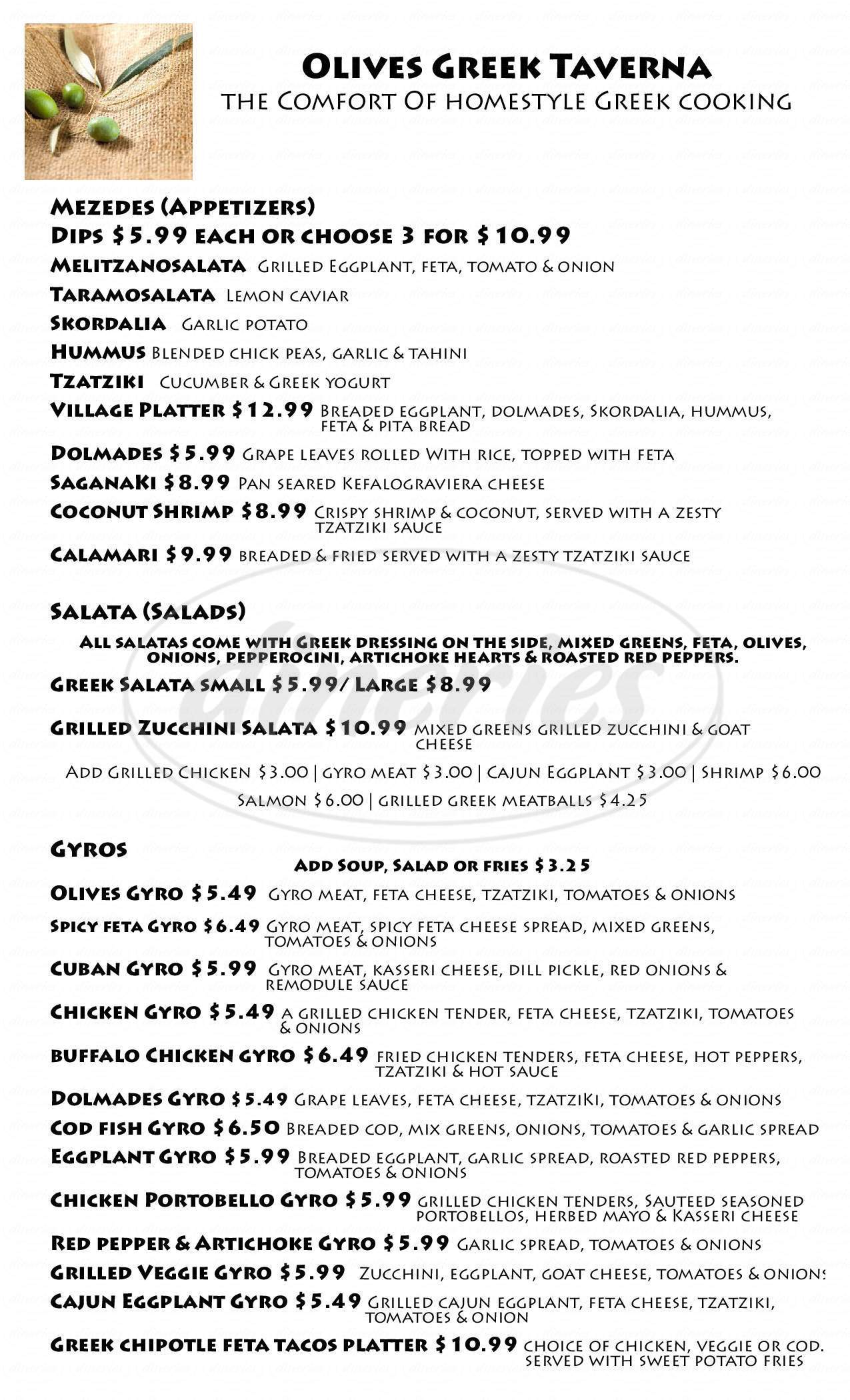 menu for Olives Greek Taverna