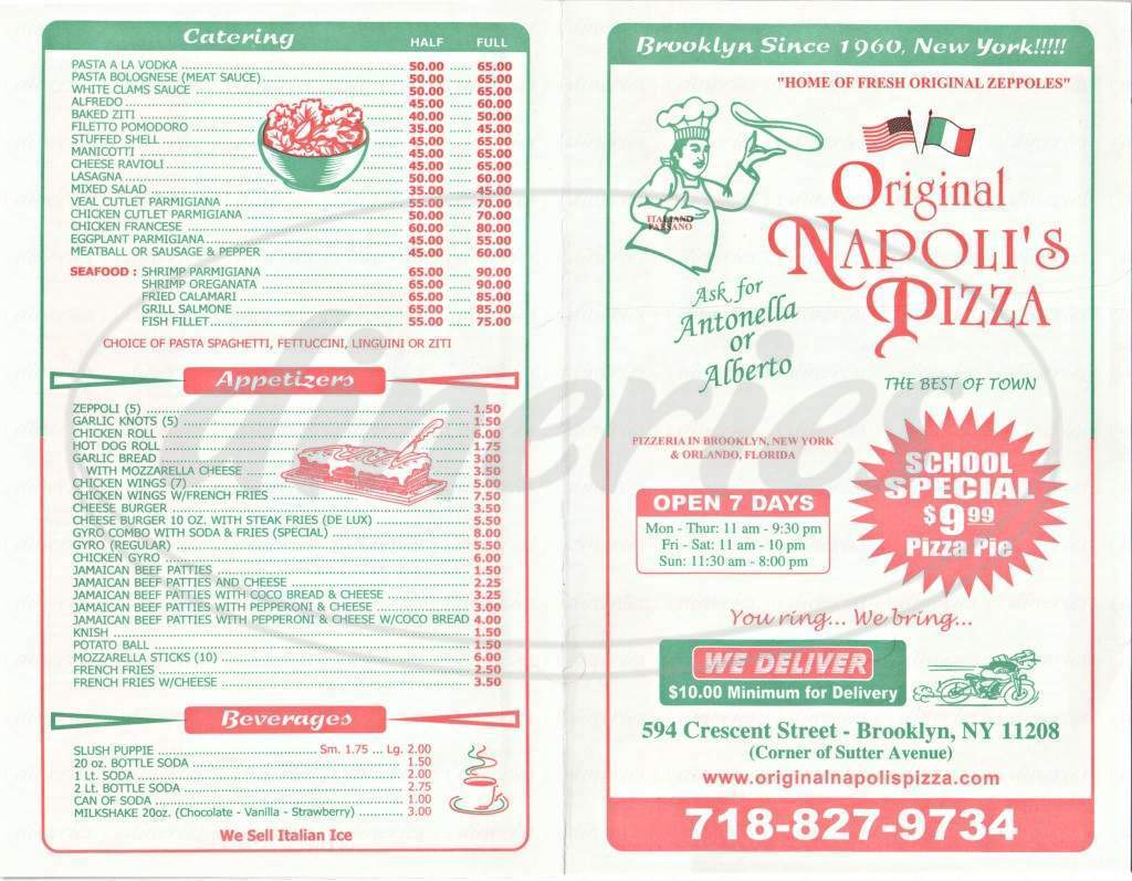 menu for Original Napoli's Pizza