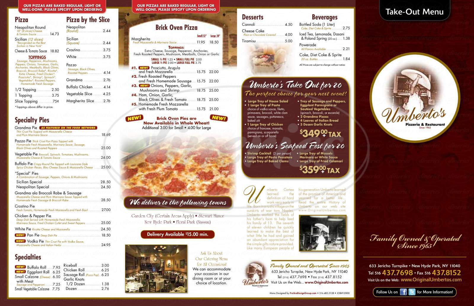 menu for Umberto's