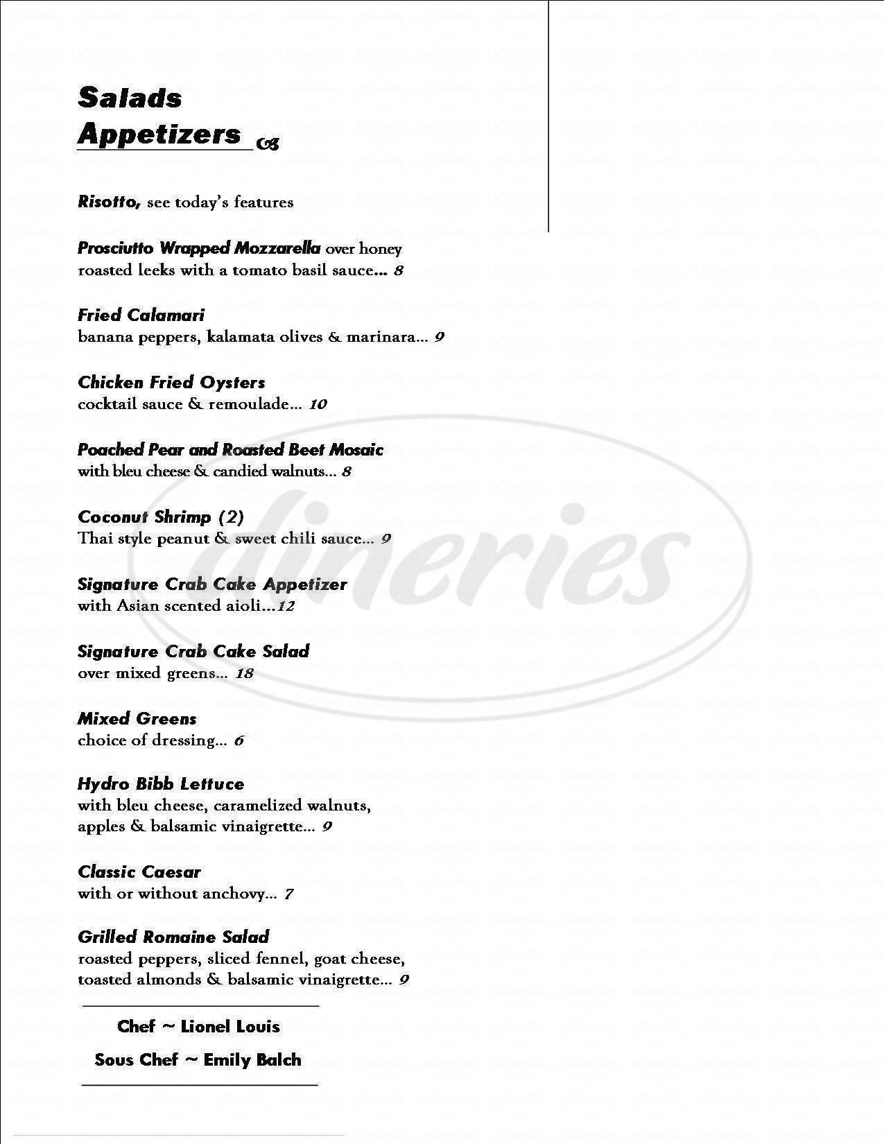 menu for Park Ave Pub