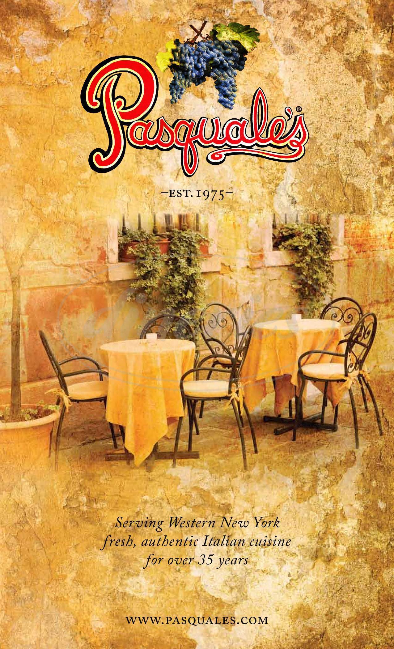 menu for Pasquale's