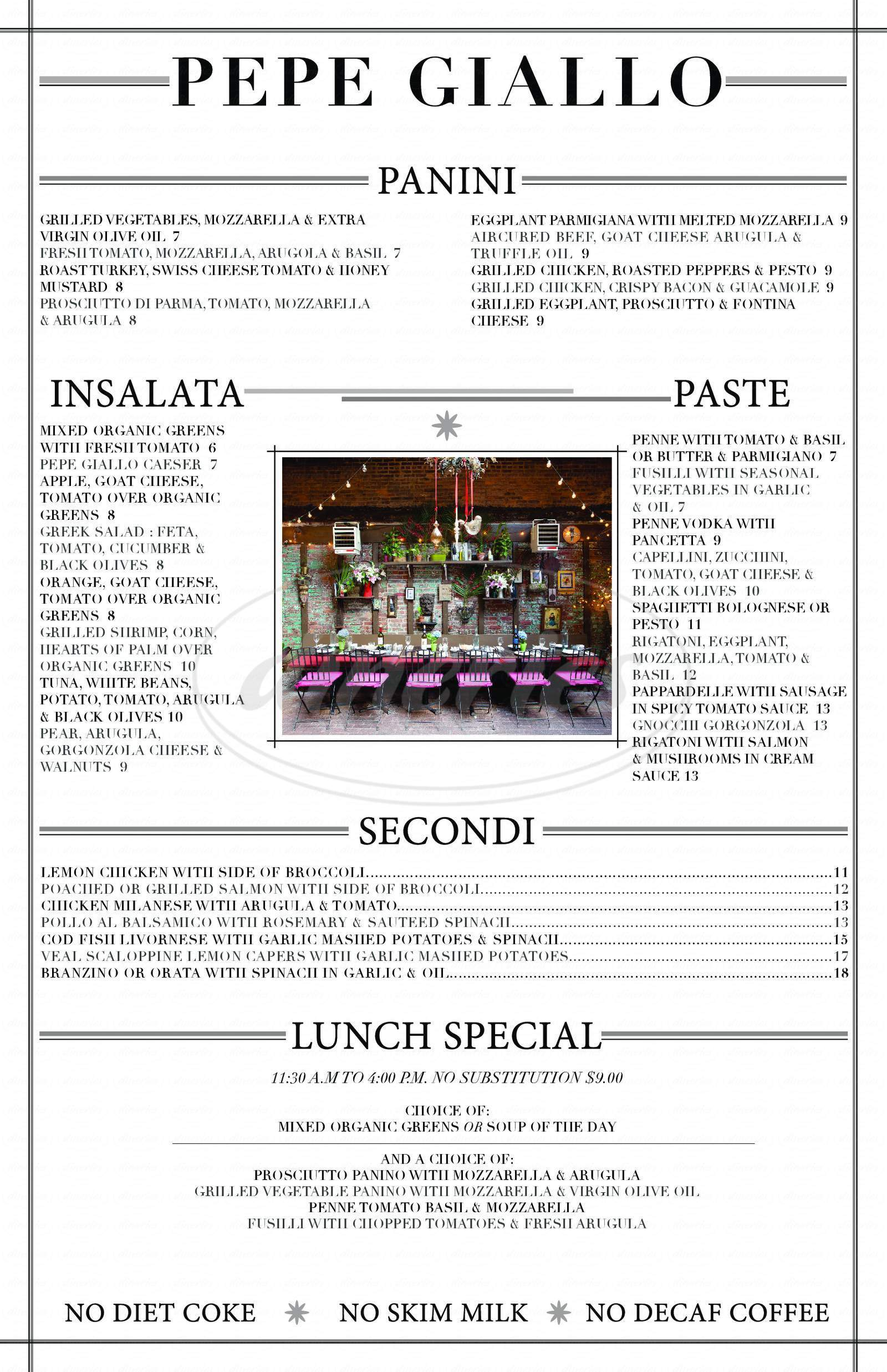 menu for Pepe Giallo