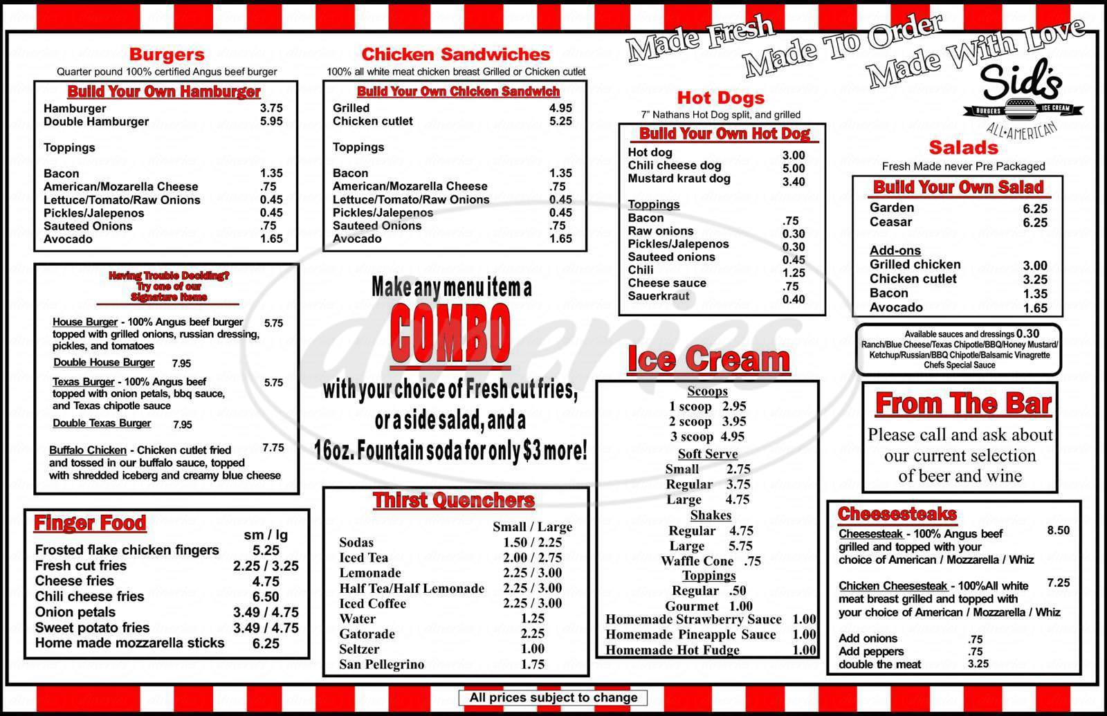 menu for Phillys & Cream